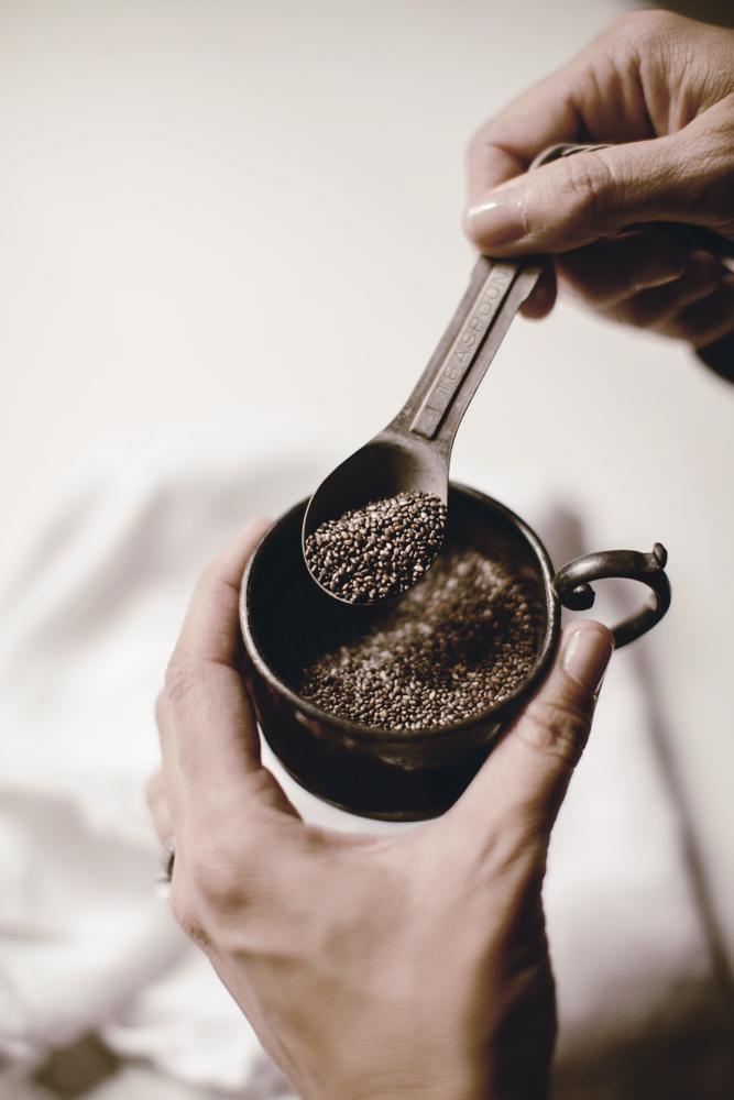 vintage teaspoon of whole chia seeds / heirloomed