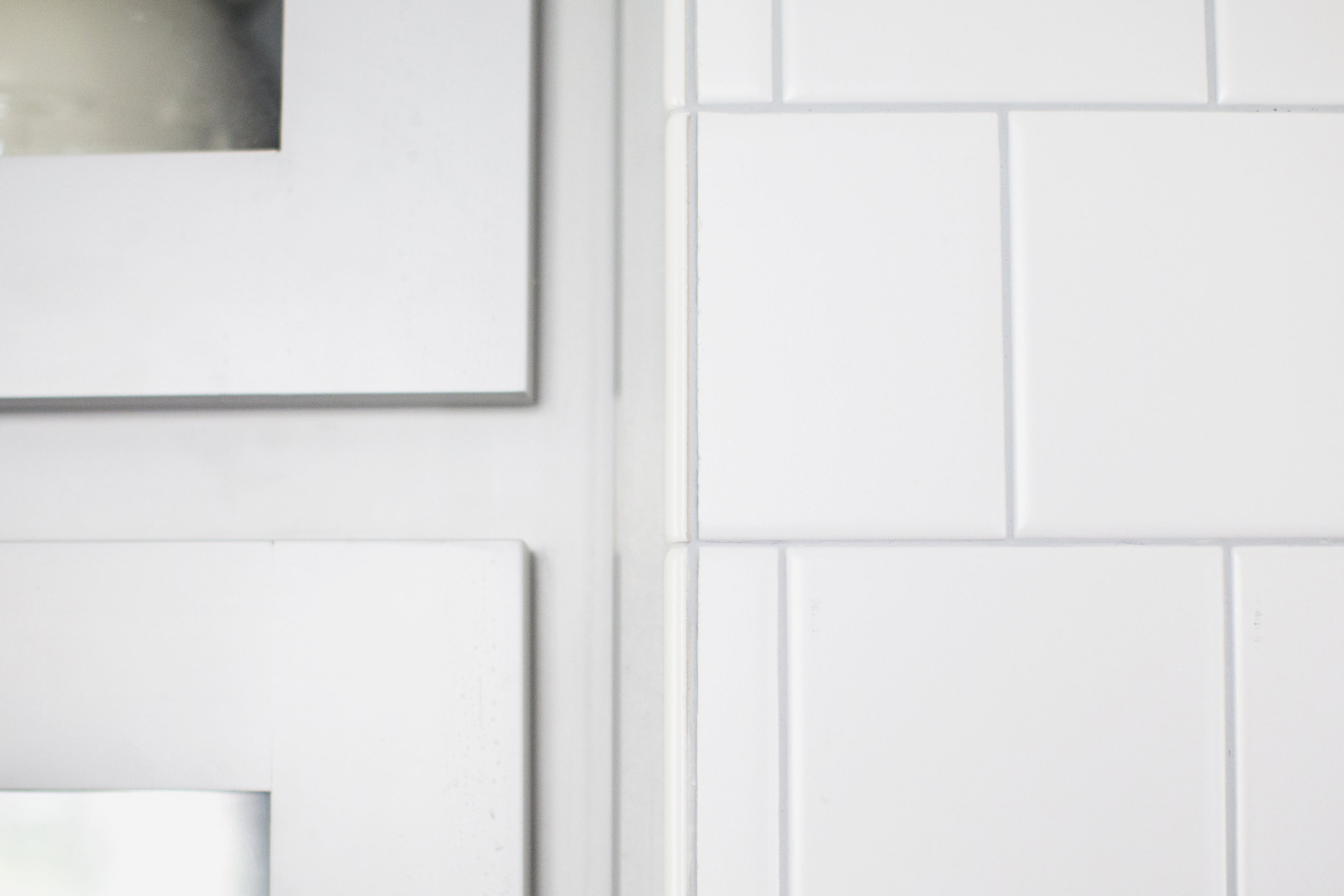 Matte Square subway tile and grey kitchen cabinets / heirloomed