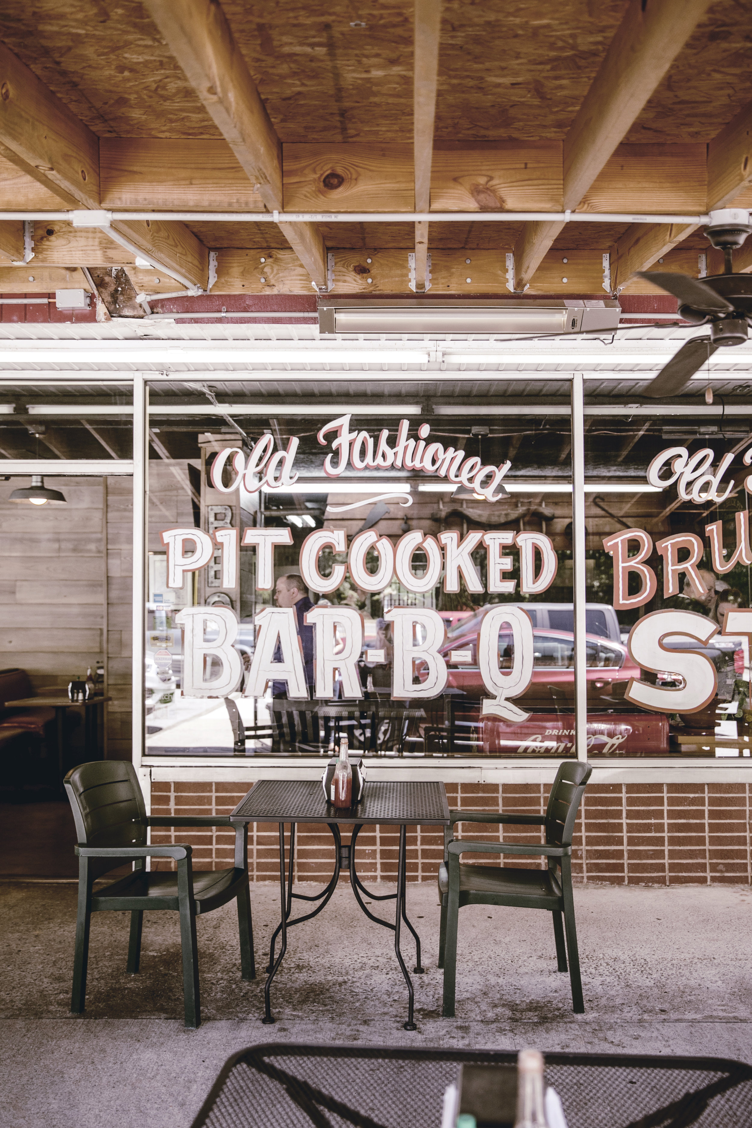 Old Brick Pit handprinted window signage / heirloomed