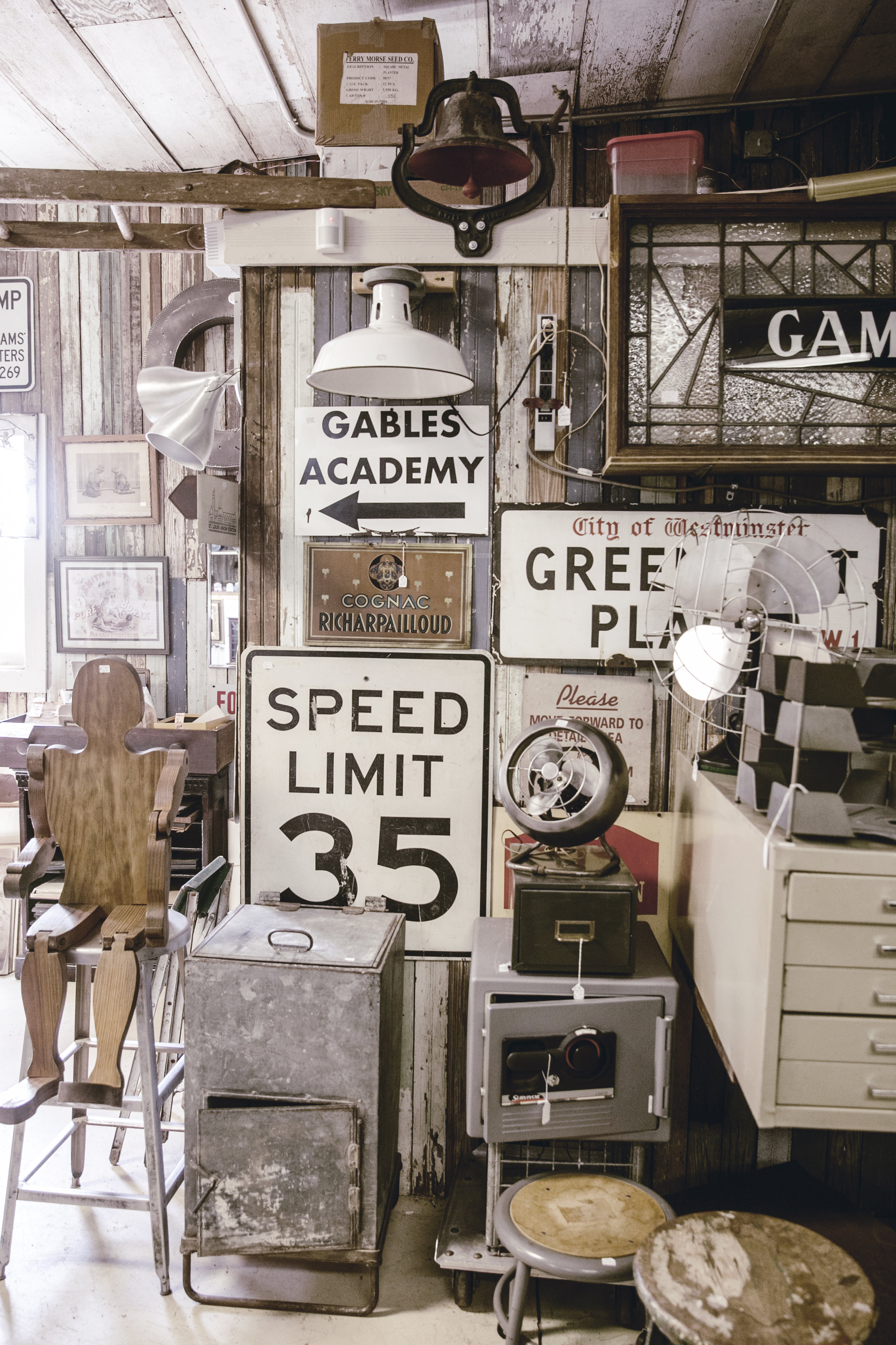 way back when antique store interior / vintage signs / heirloomed