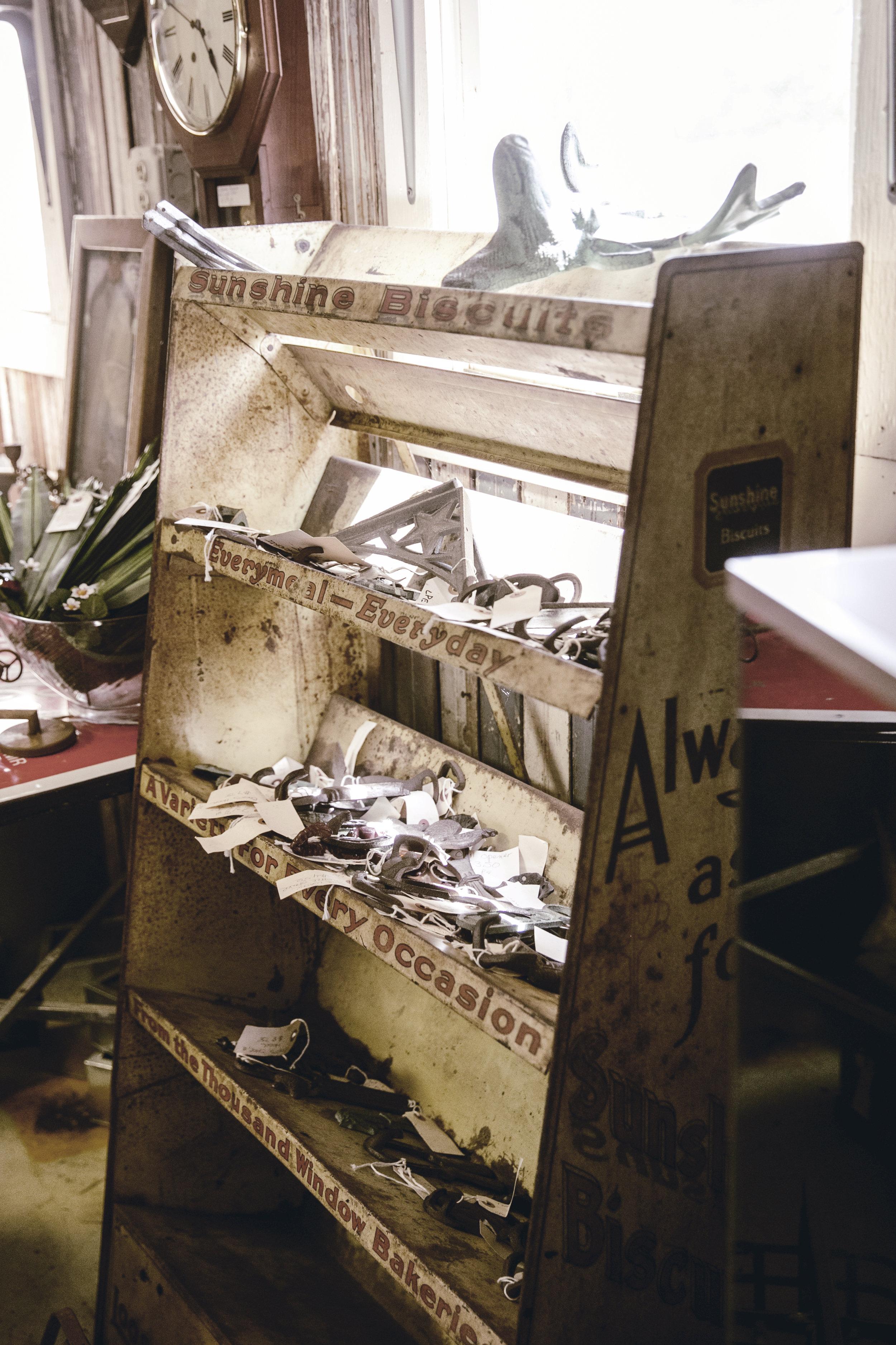 vintage metal store display shelf / heirloomed