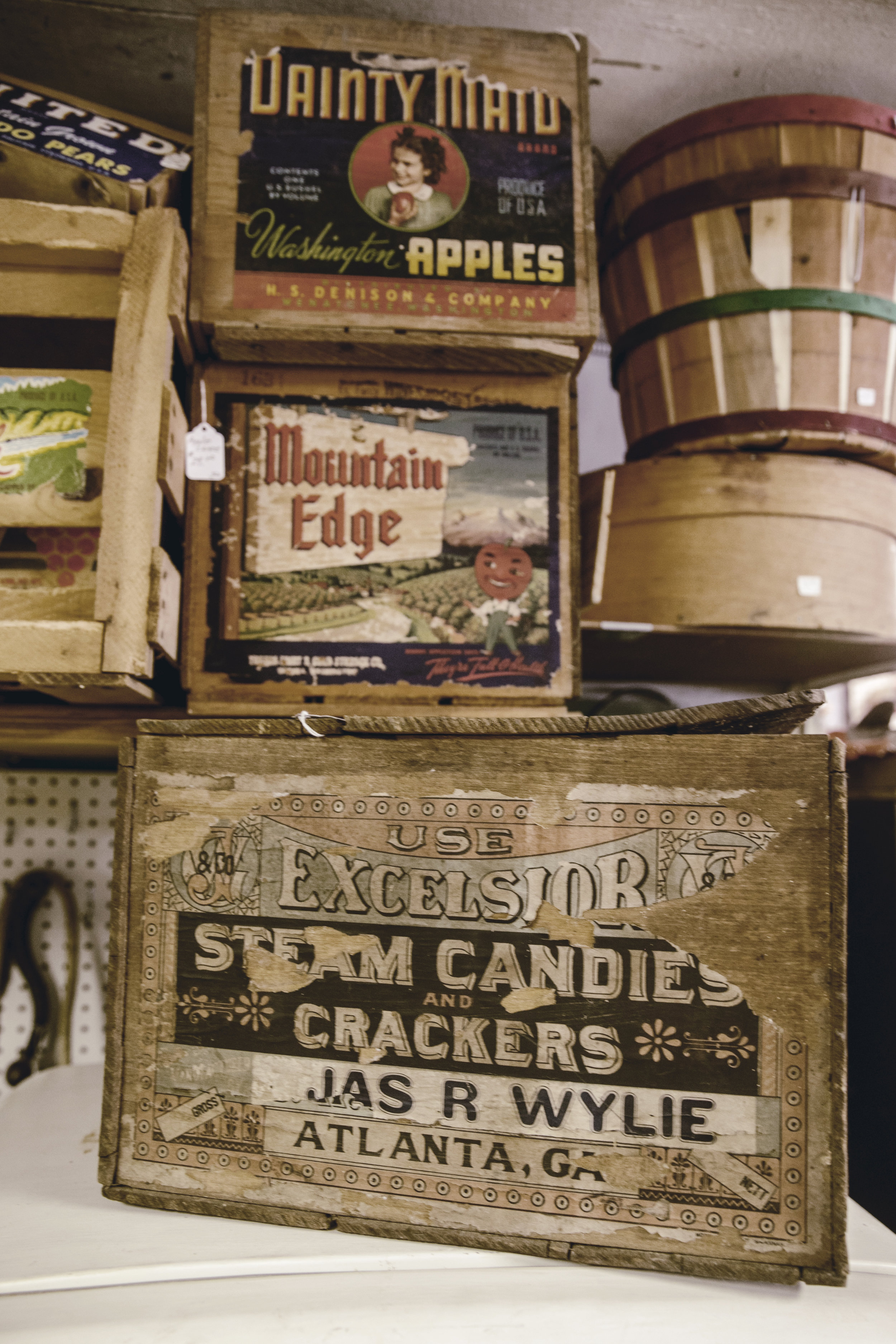 antique wooden advertising crates / heirloomed