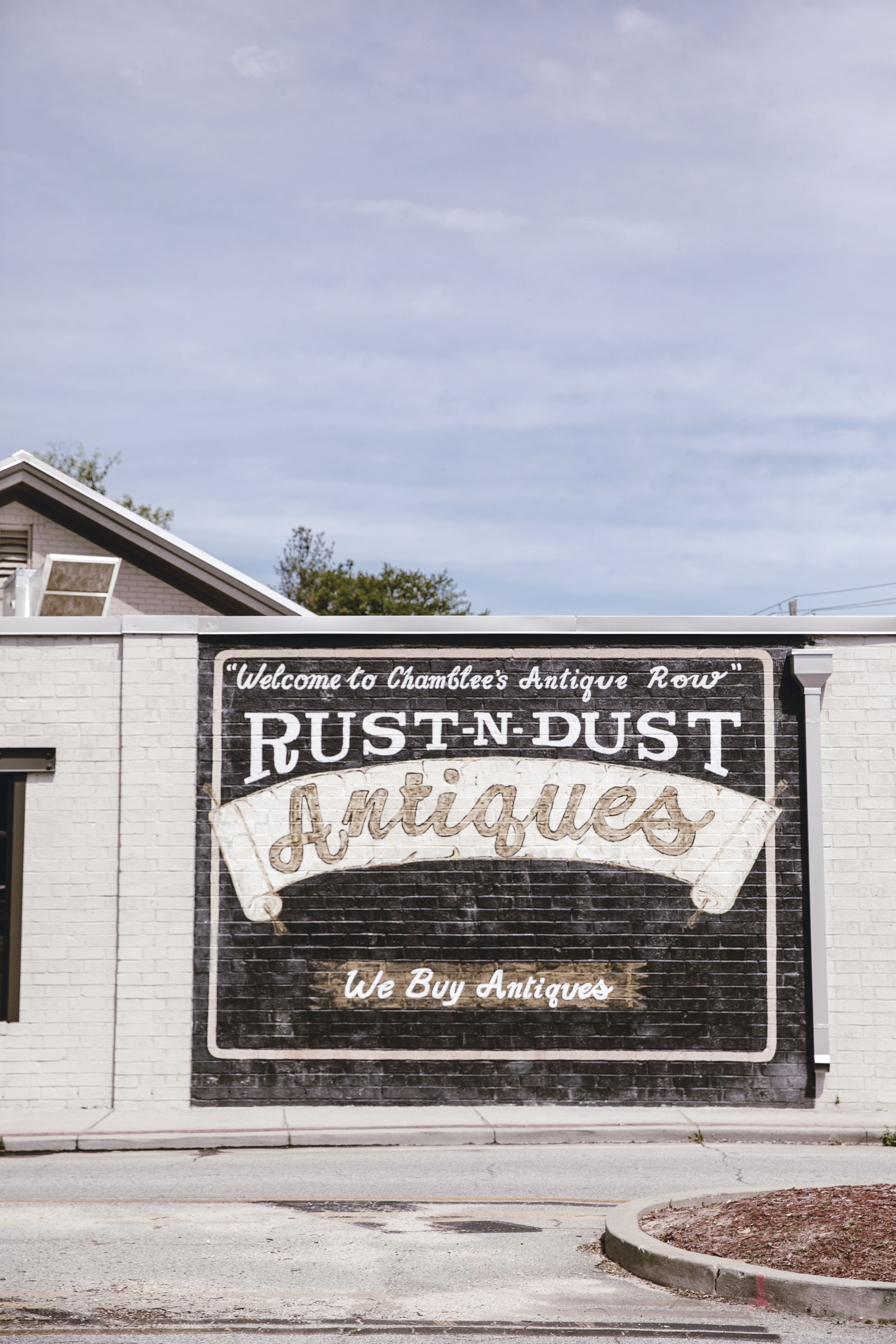Rust N Dust Antiques painted sign in Chamblee GA / heirloomed