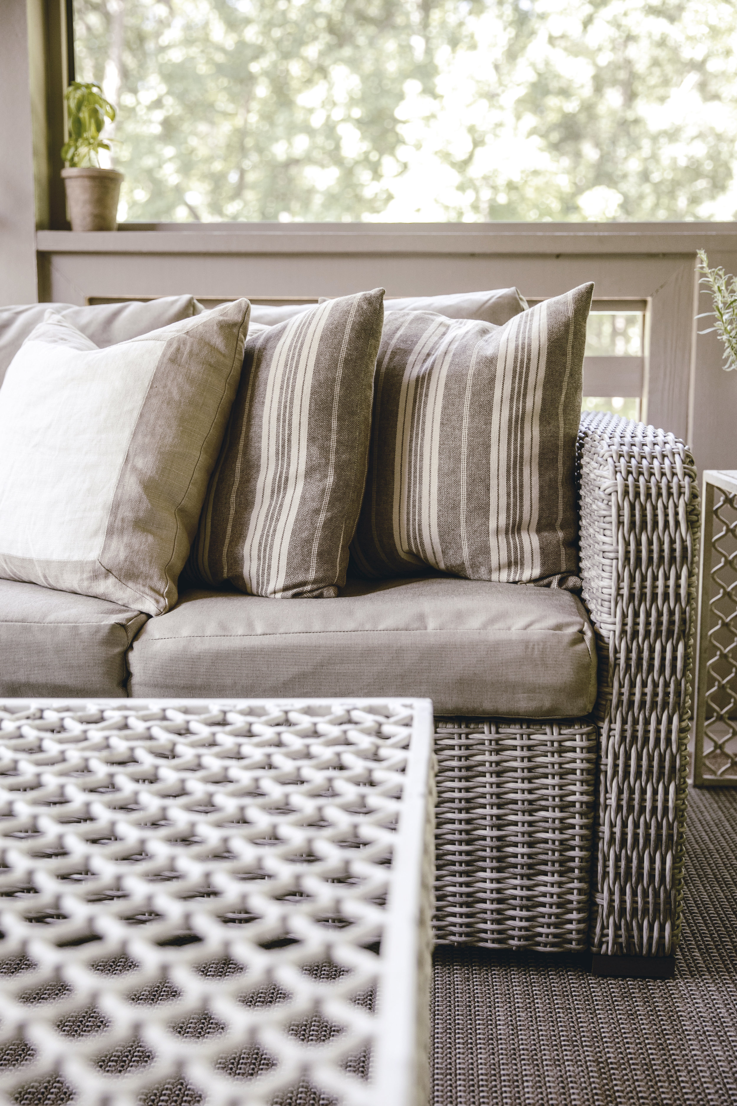 outdoor pillows and sofa / heirloomed