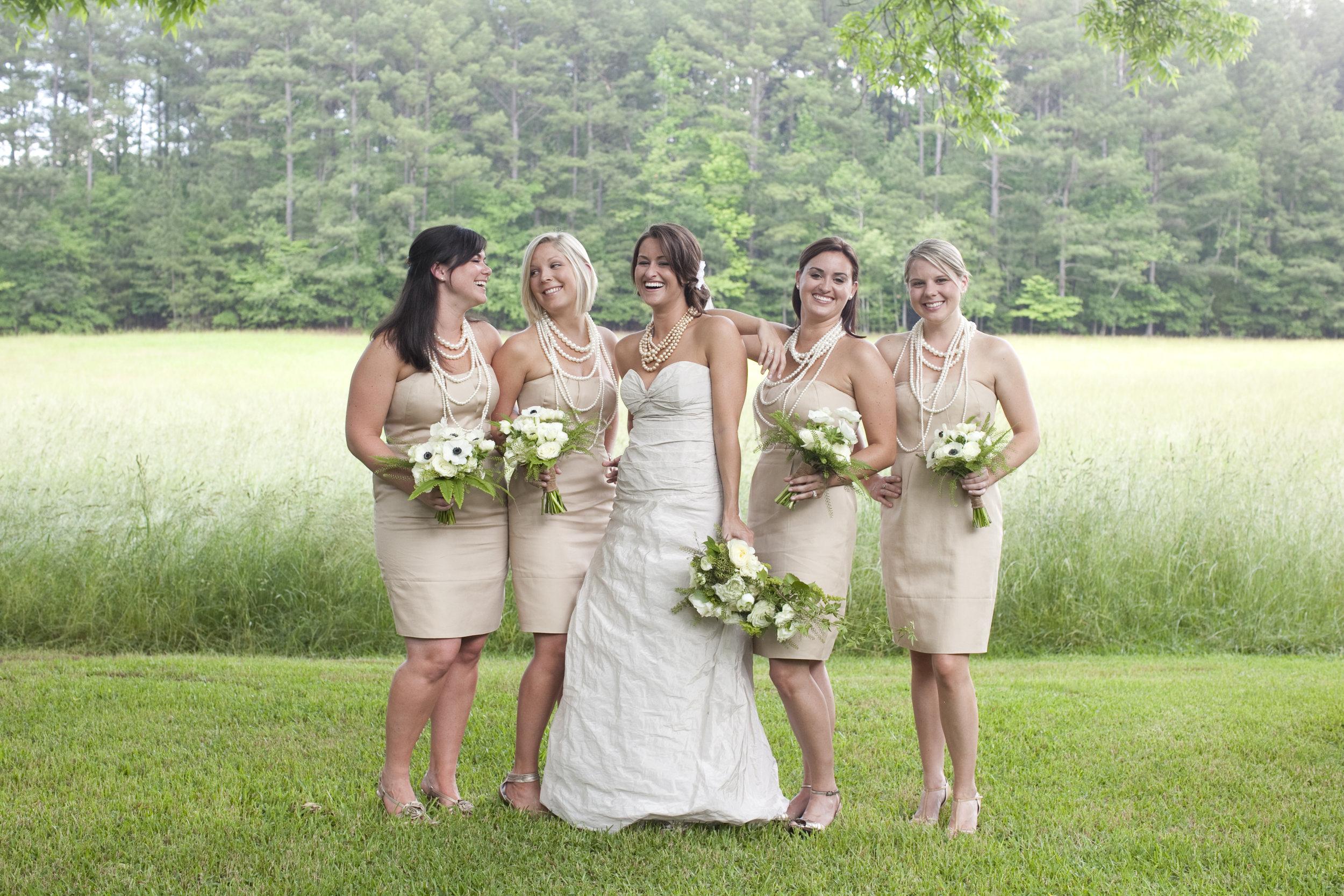 bridesmaids / outdoor wedding / heirloomed