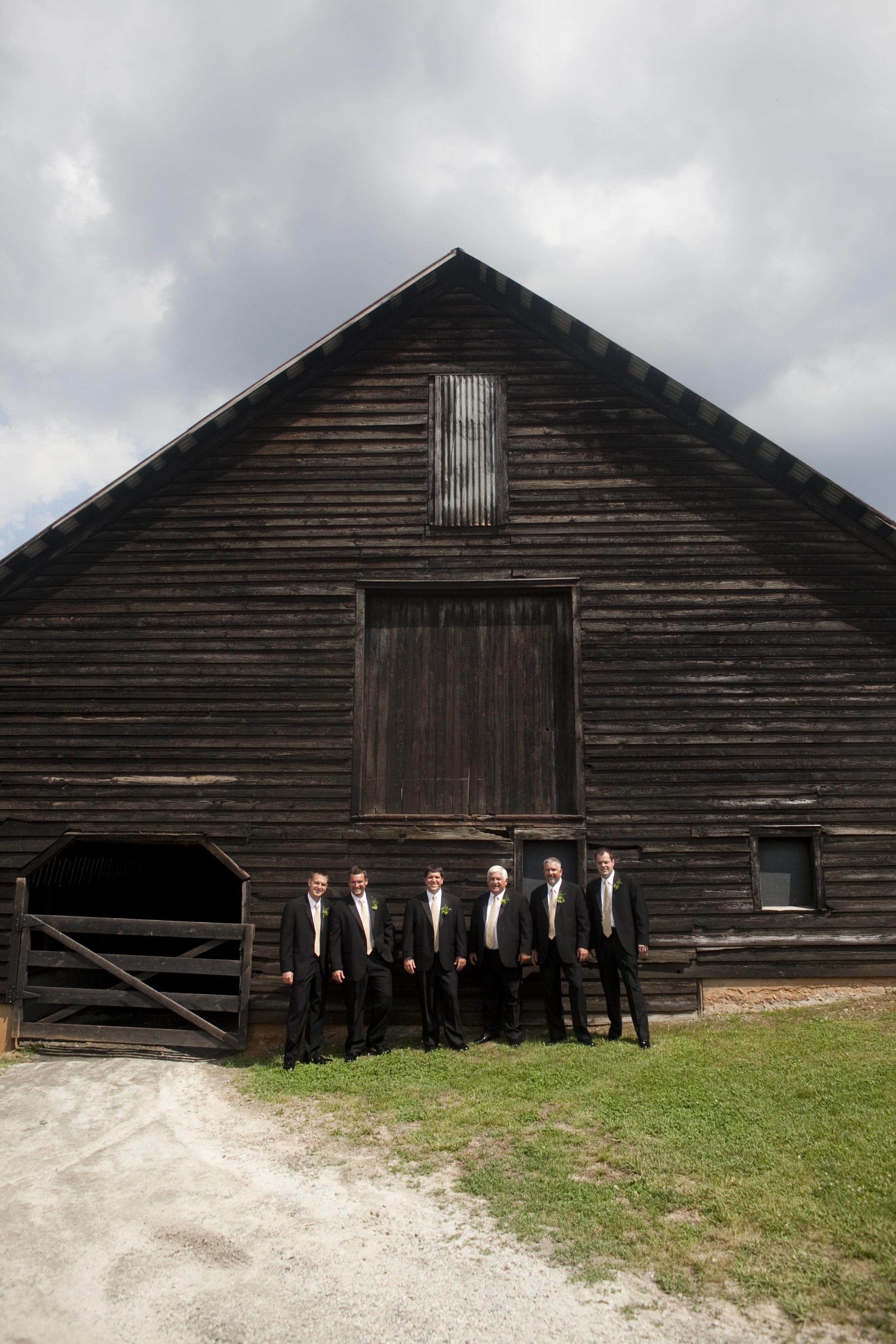 groomsmen at barn wedding / heirloomed