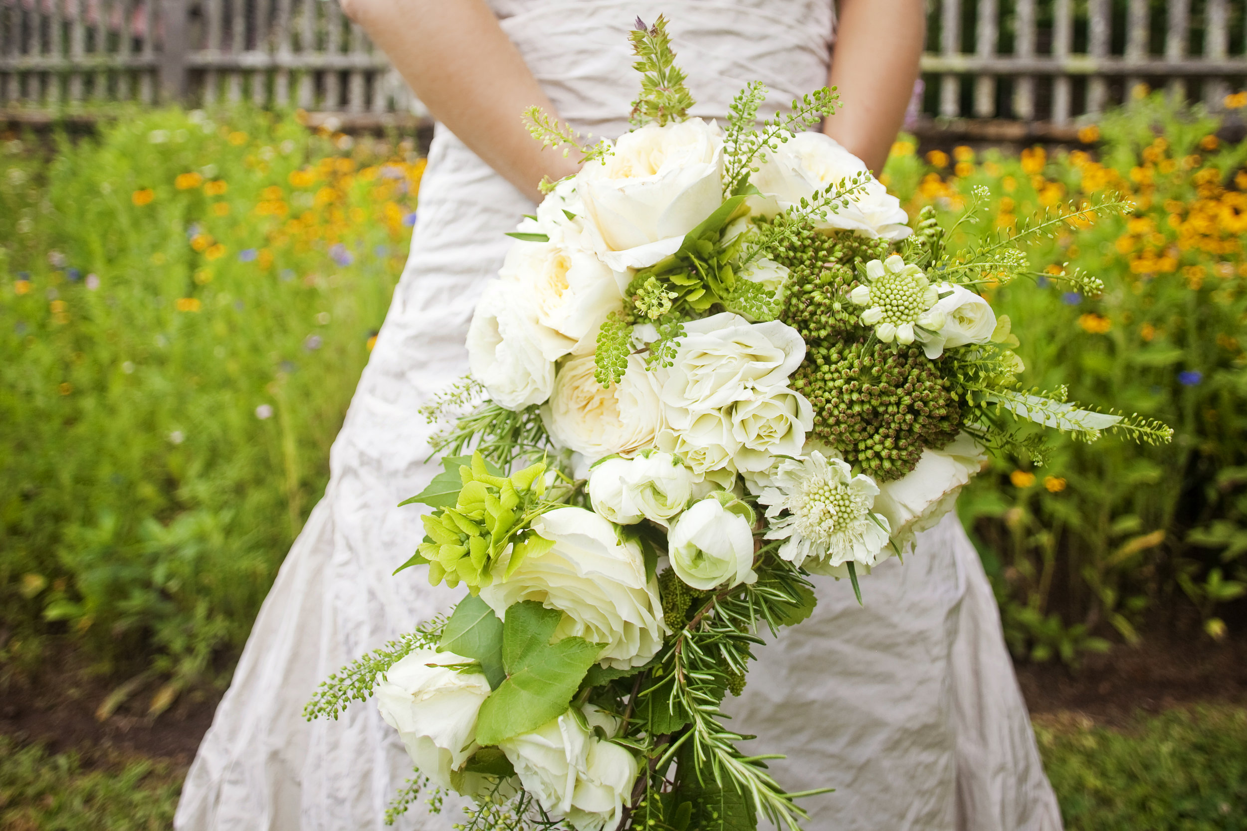 bridal bouquet / white and herbs / heirloomed