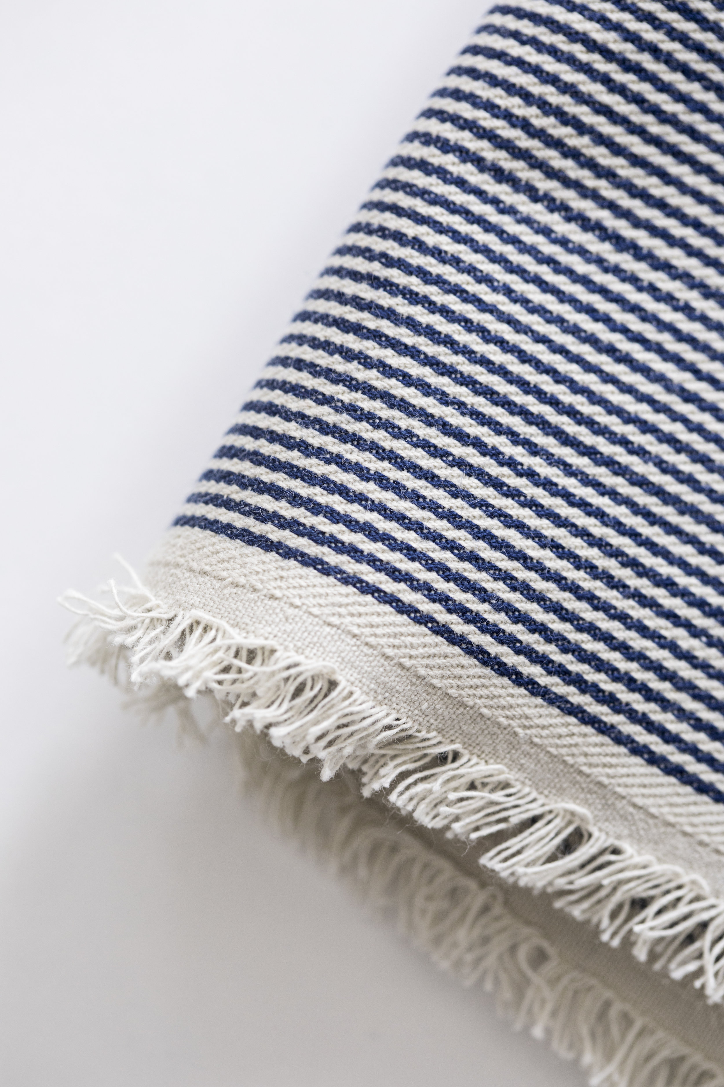 selvedge edge railroad stripe tea towel detail / heirloomed