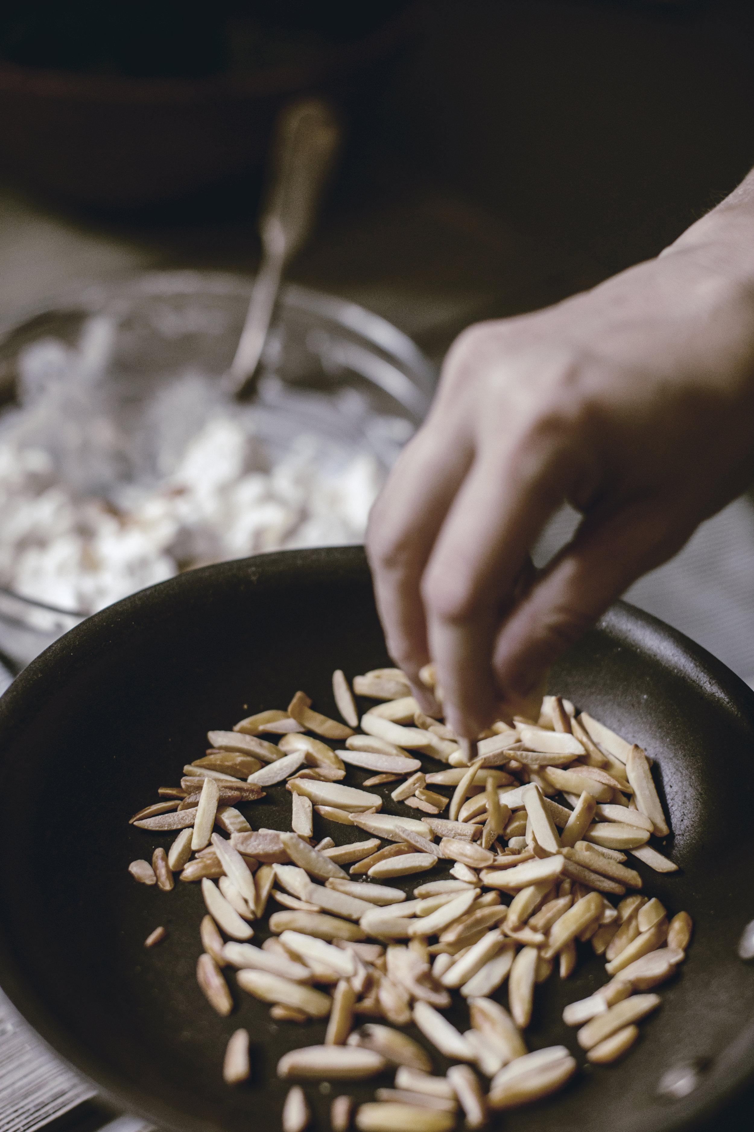 toasted slivered almonds for chicken salad recipe / heirloomed