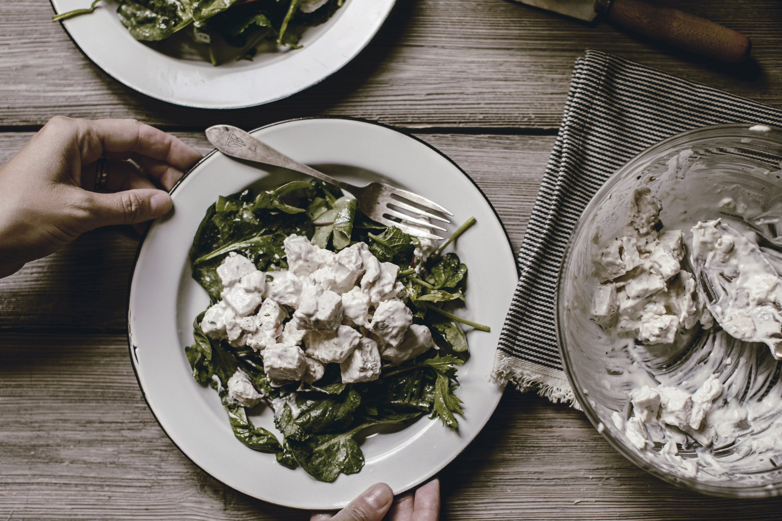 best savory chicken salad recipe with tarragon and slivered almonds / heirloomed