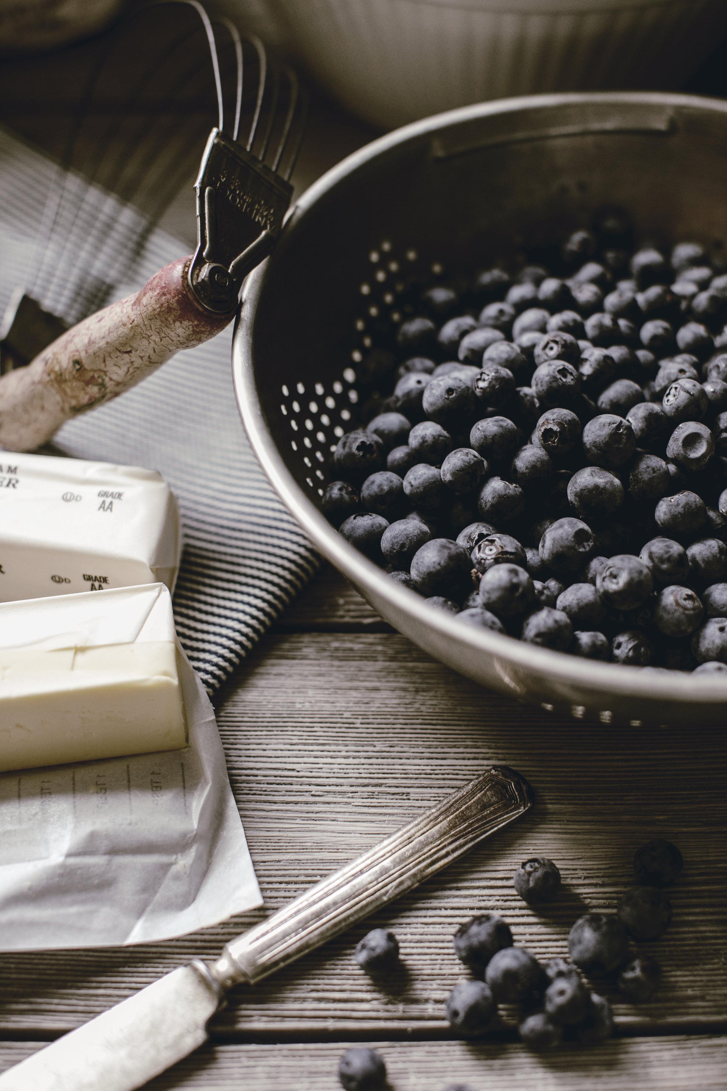 Fresh blueberries in vintage tin colander / heirloomed