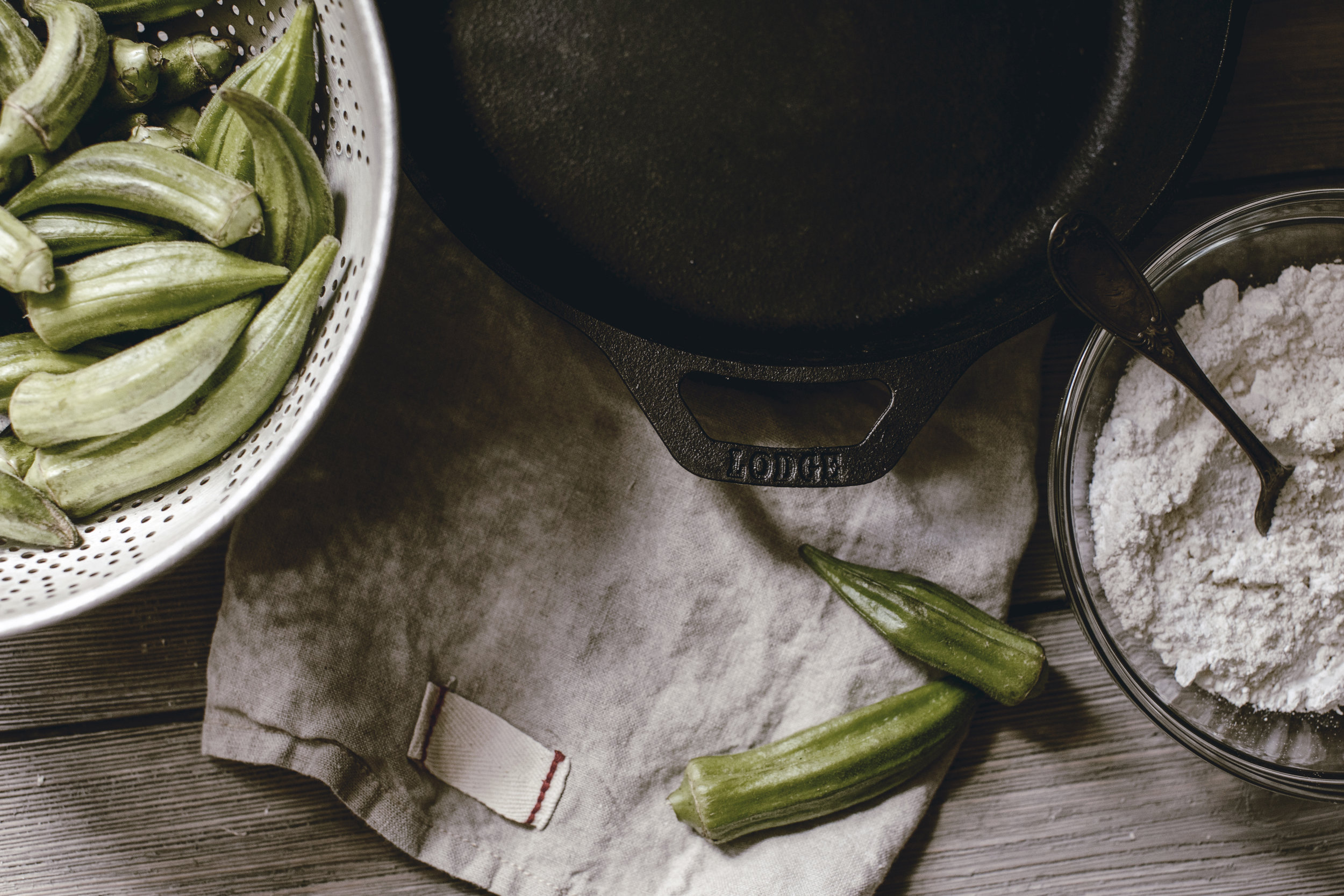 lodge cast iron pan for fried okra / heirloomed