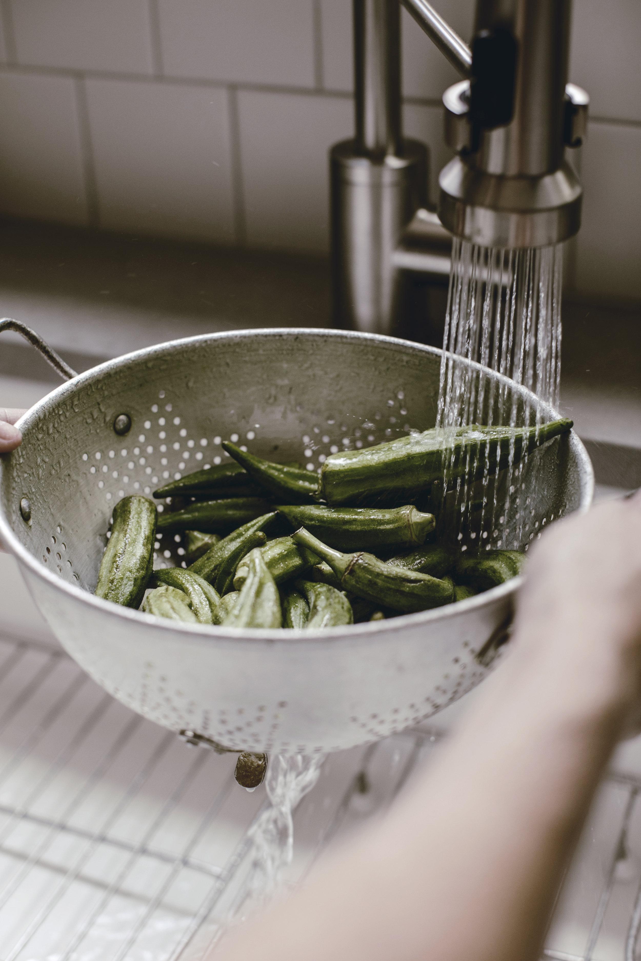 vintage colander washing fresh okra / heirloomed