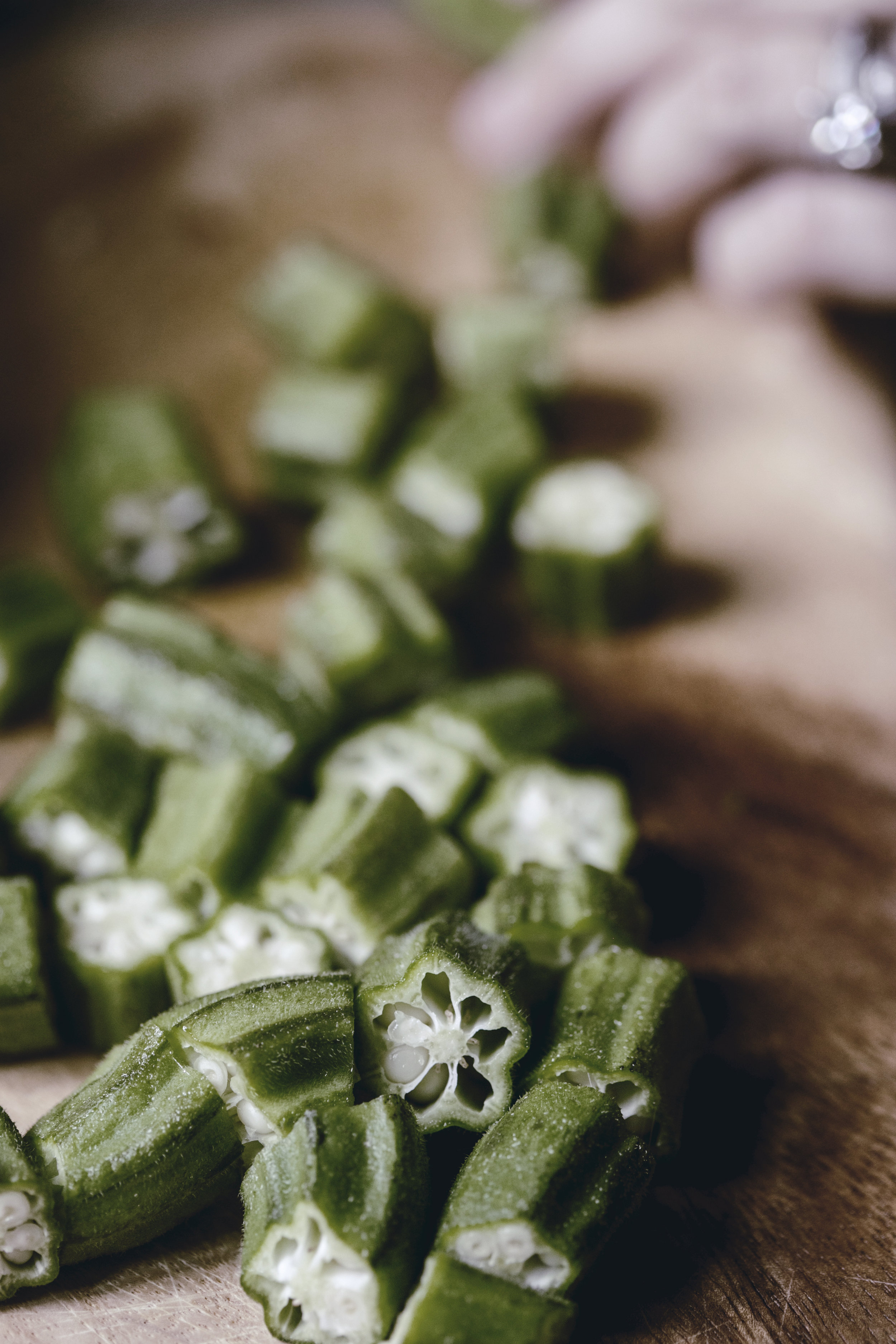 chopped okra / heirloomed