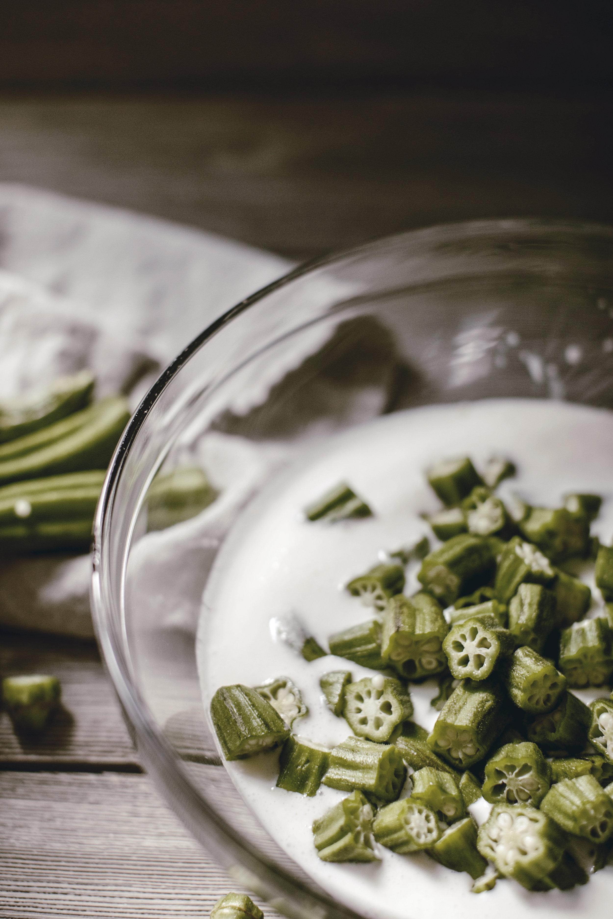 soaking okra in buttermilk / heirloomed