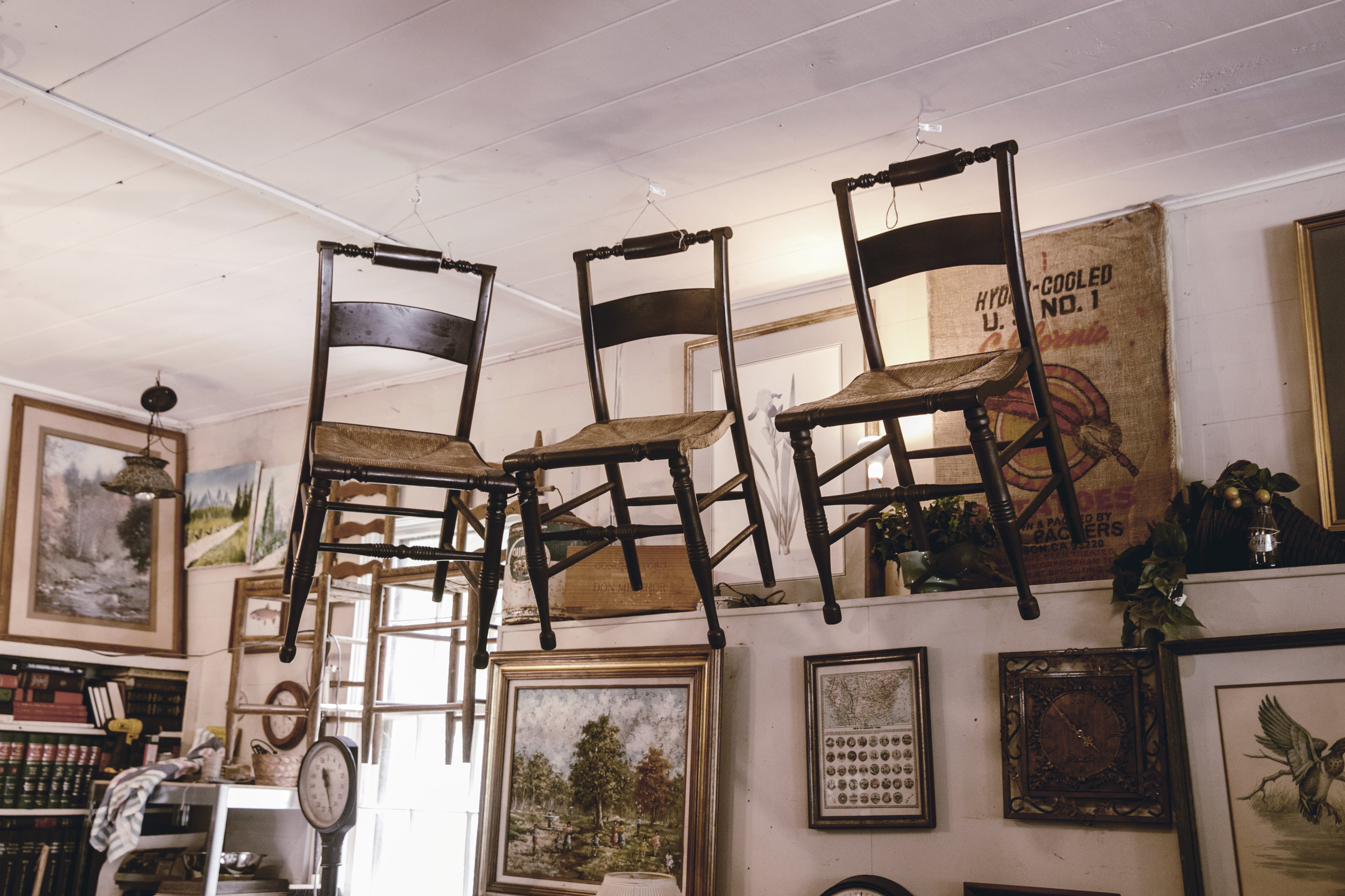 chairs hanging in antique store  / heirloomed
