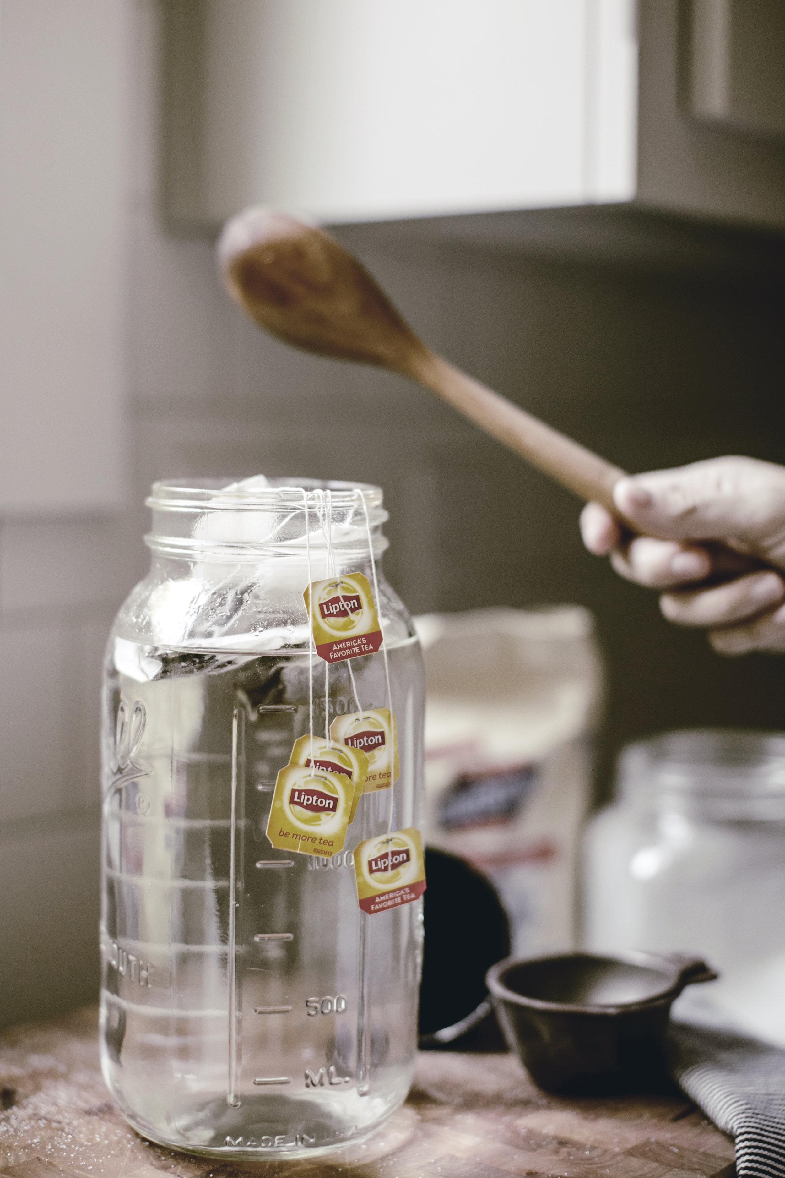 Jar of sun tea brewing / heirloomed