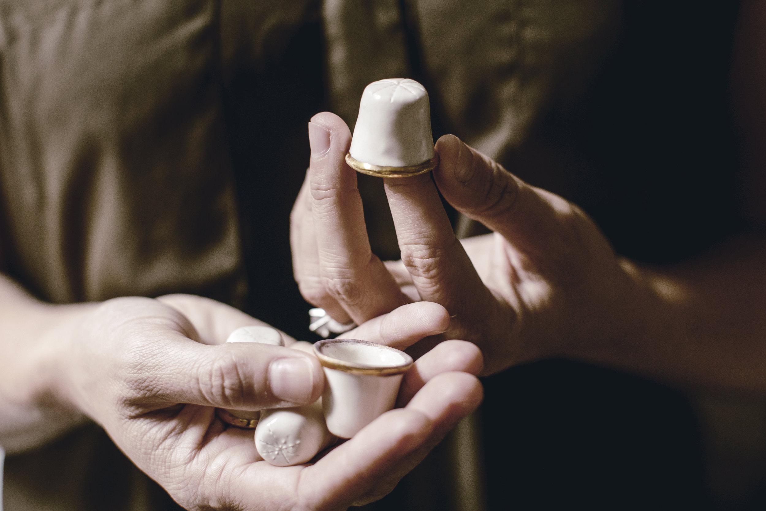 handmade ceramic thimbles / keepsake gift / heirloomed