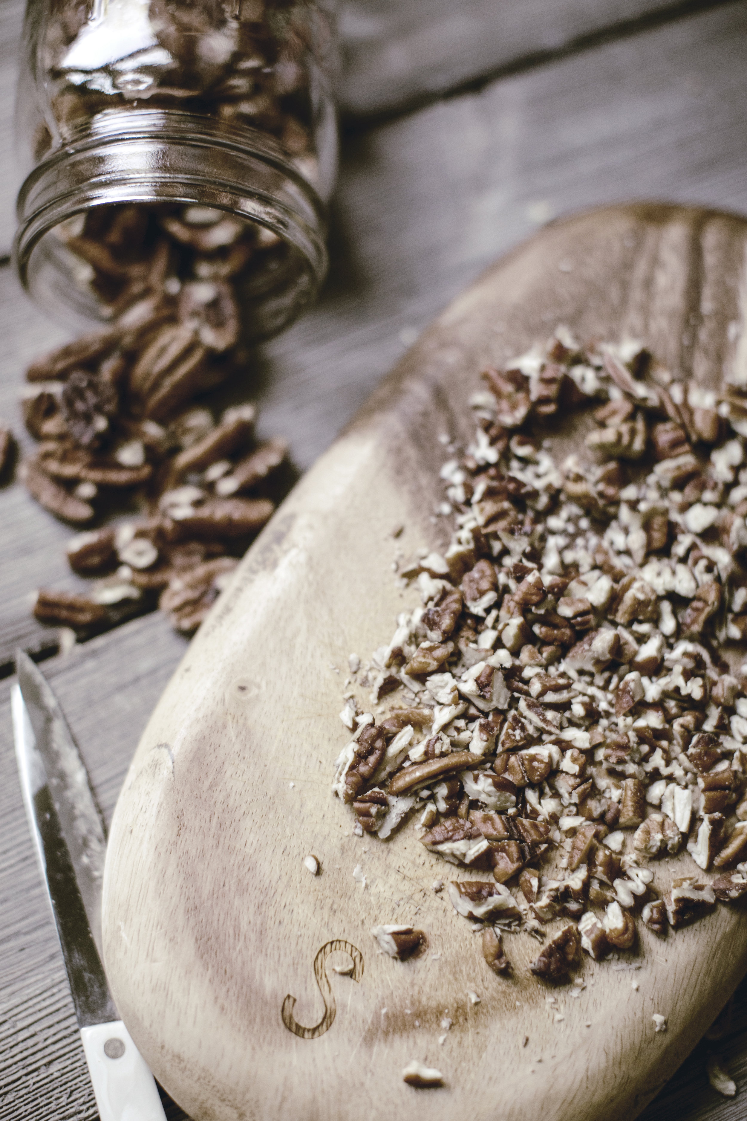 rough chopped pecans for praline ice cream topping / heirloomed