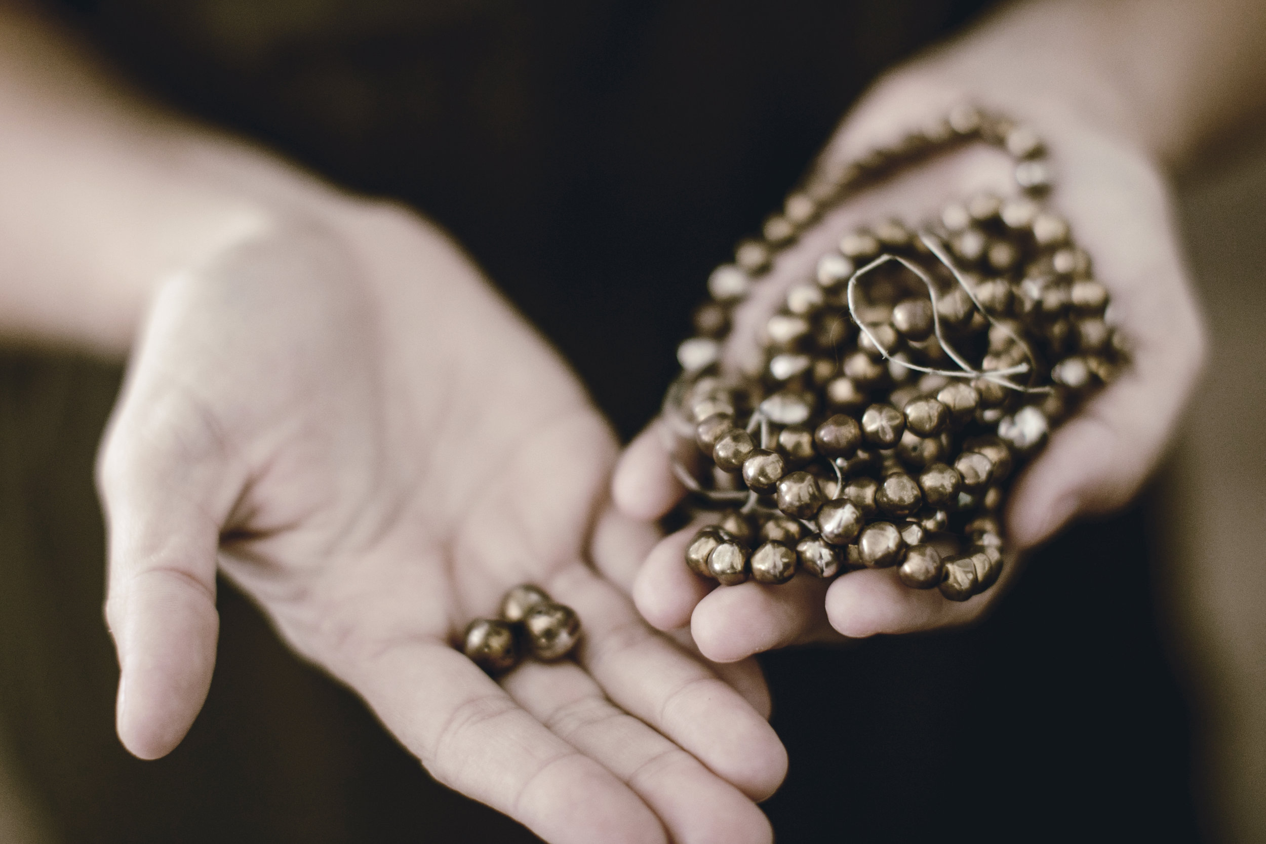 vintage brass beads from family heirloom jewelry / heirloomed
