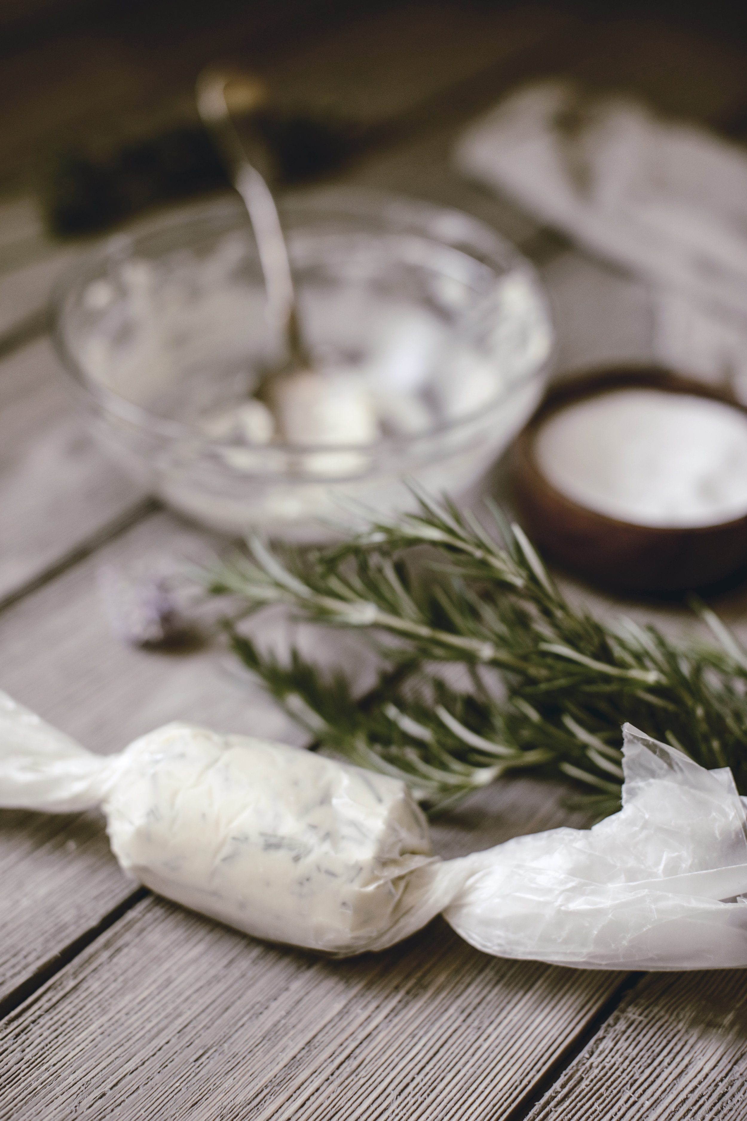 homemade herb butter in waxed paper / heirloomed recipe