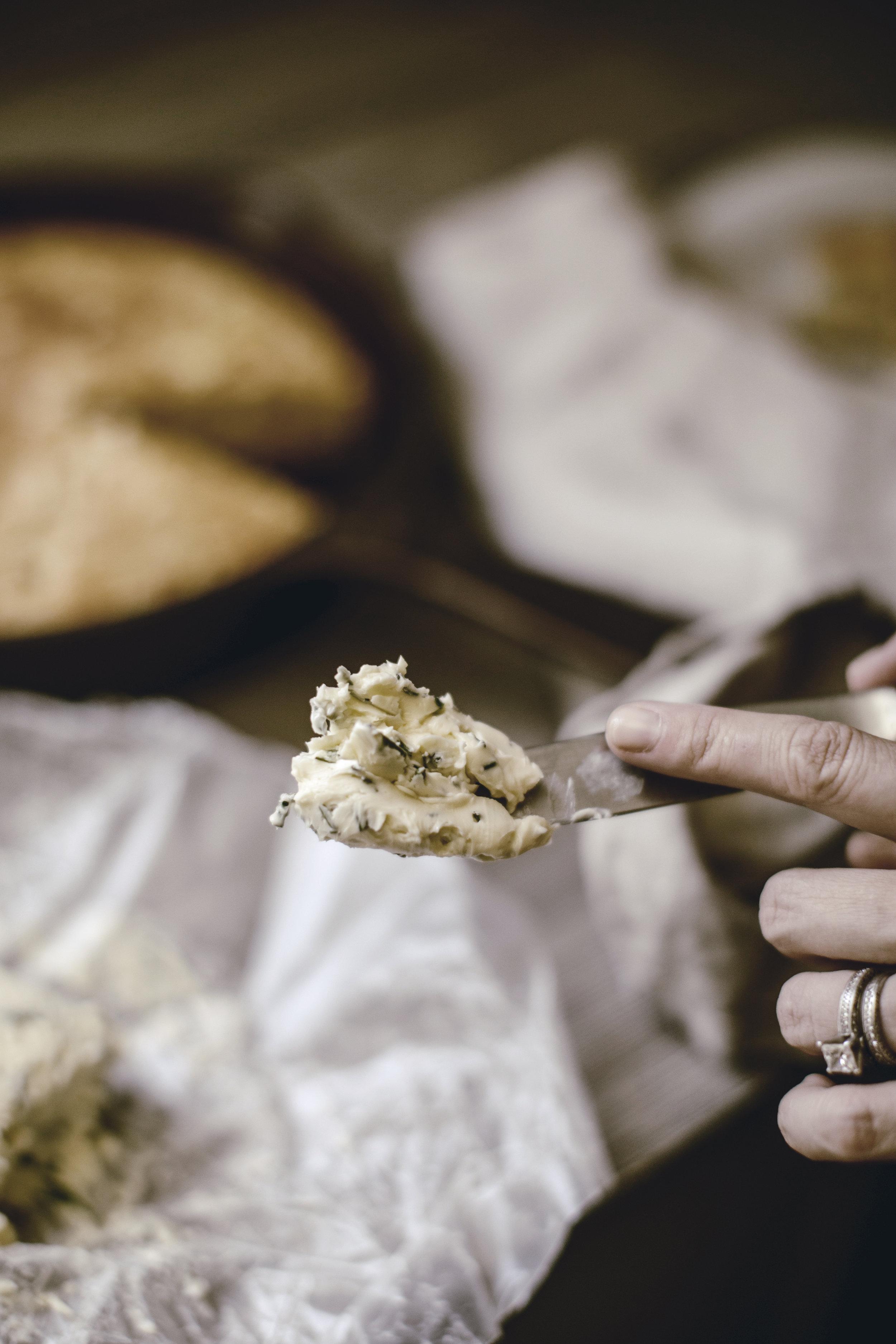 herbed butter on skillet cornbread / HEIRLOOMED