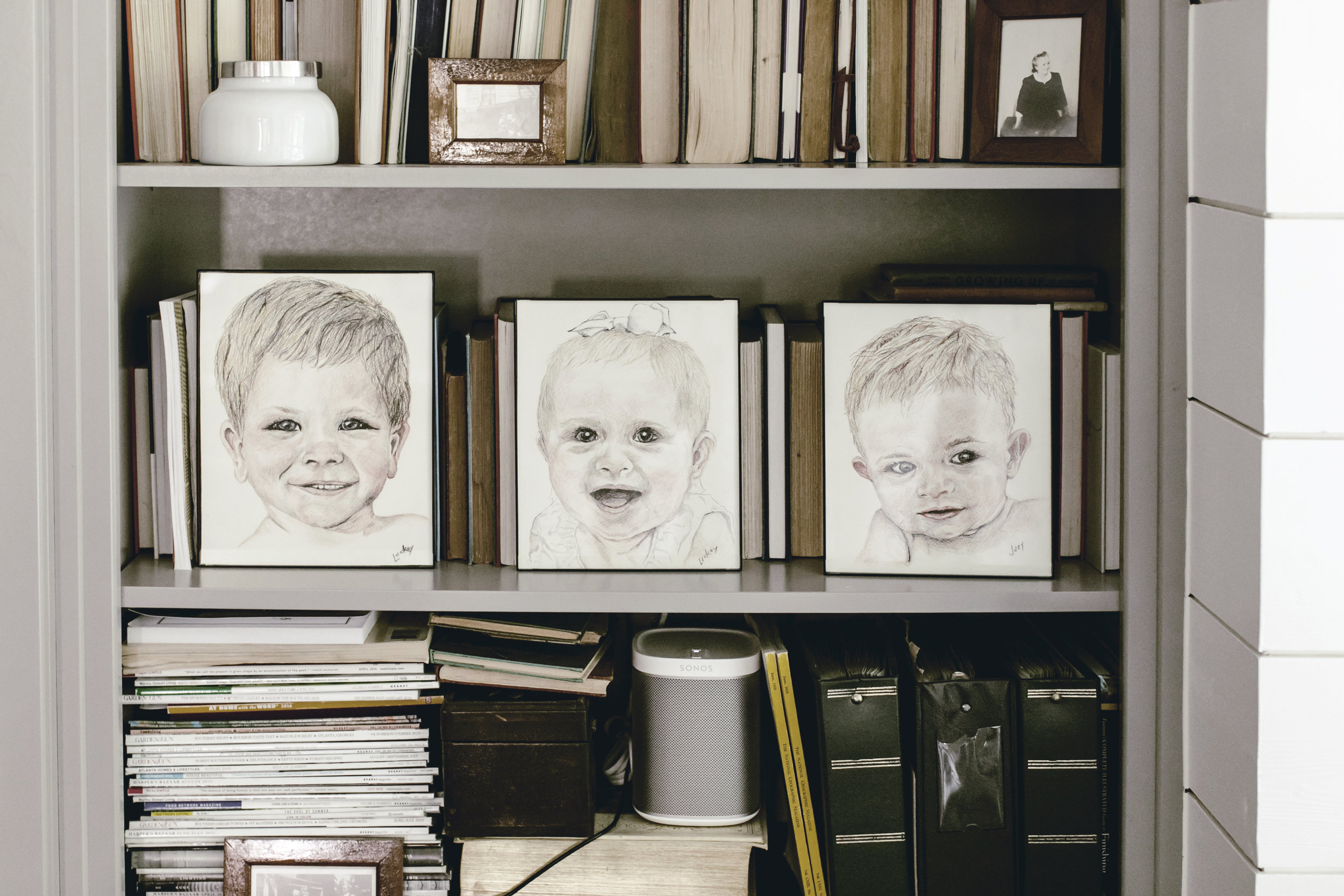 hand drawn childhood pencil sketches / heirloomed