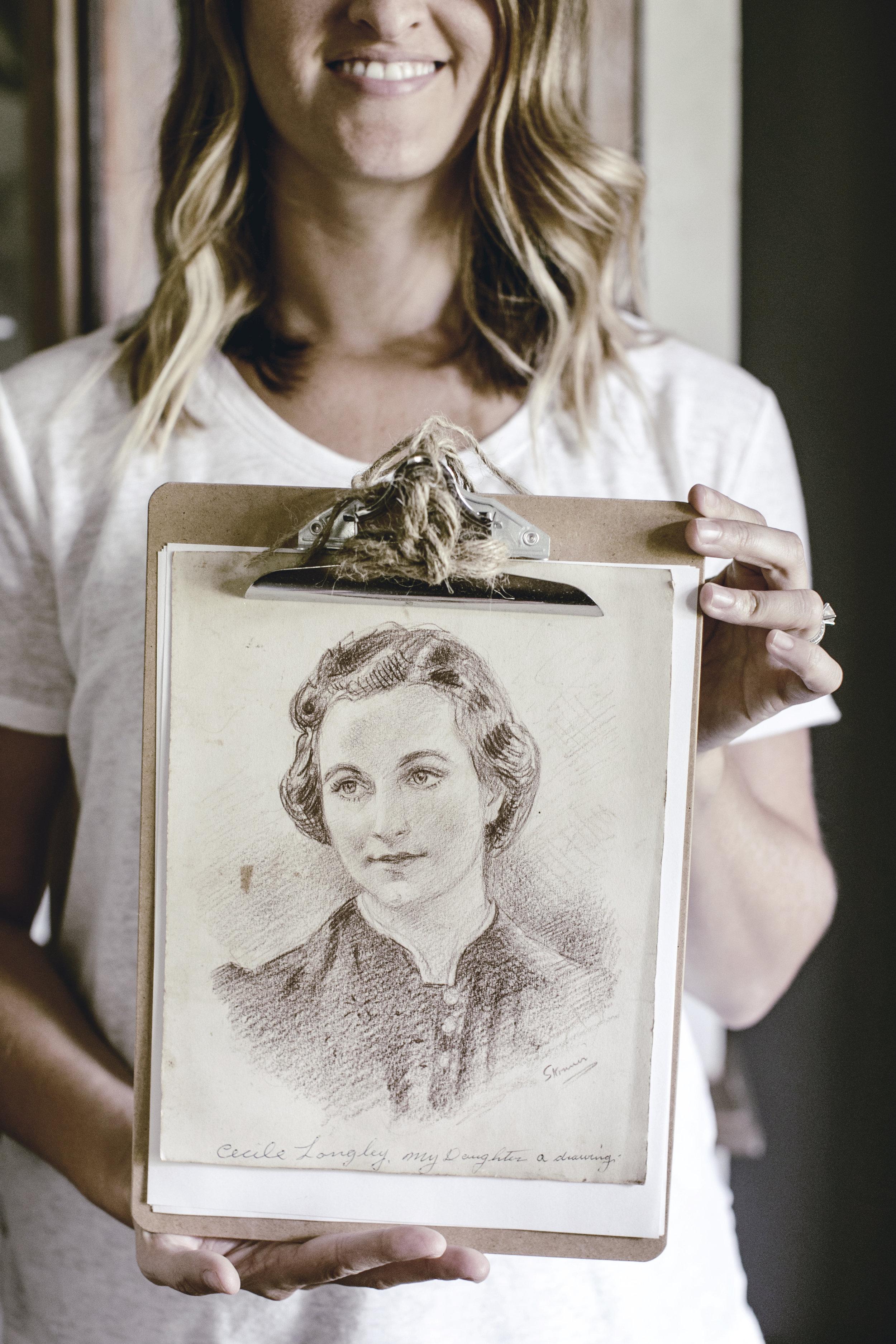 vintage red charcoal sketch of grandmother / heirloomed