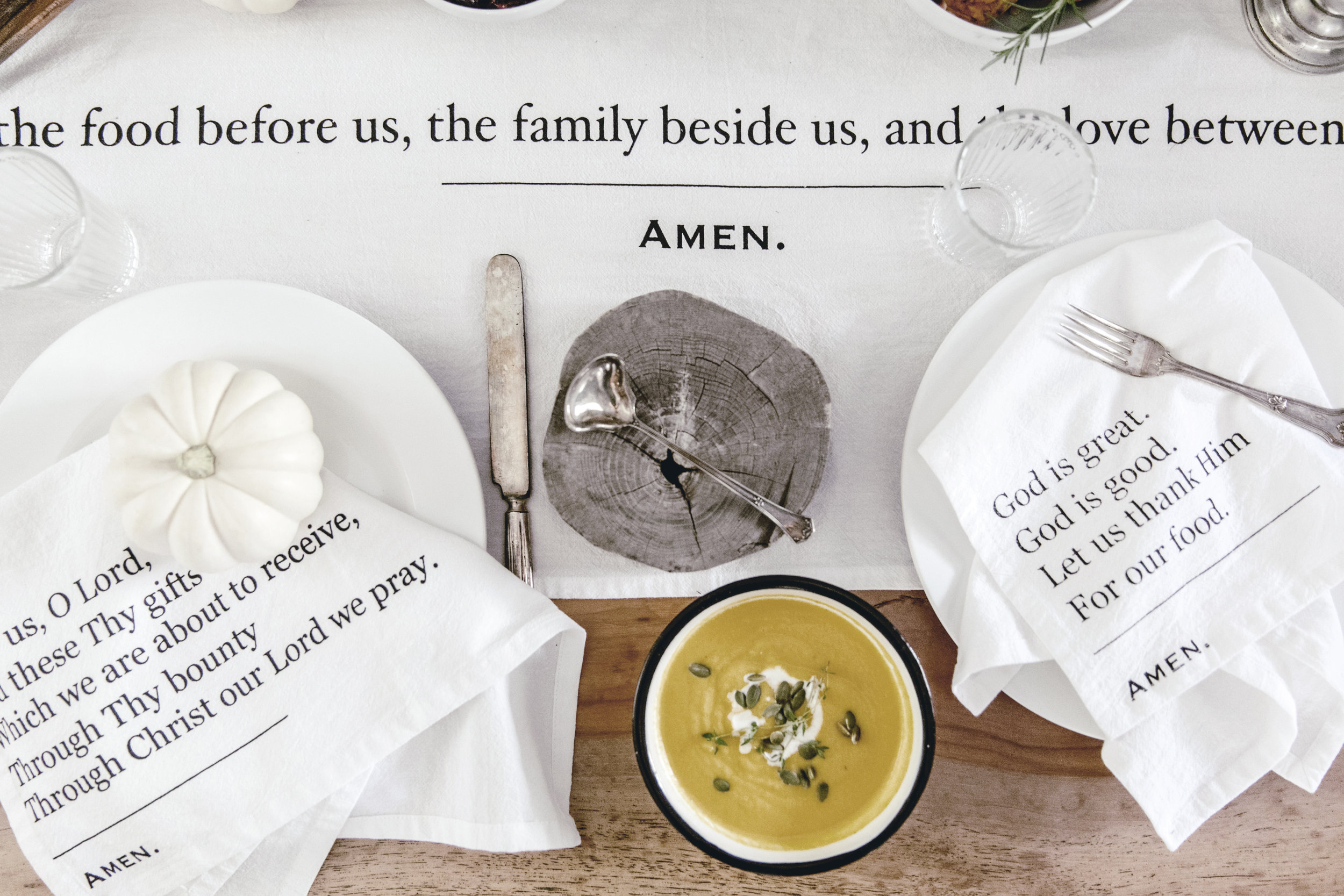 Simple Blessings Collection tabletop linens / heirloomed