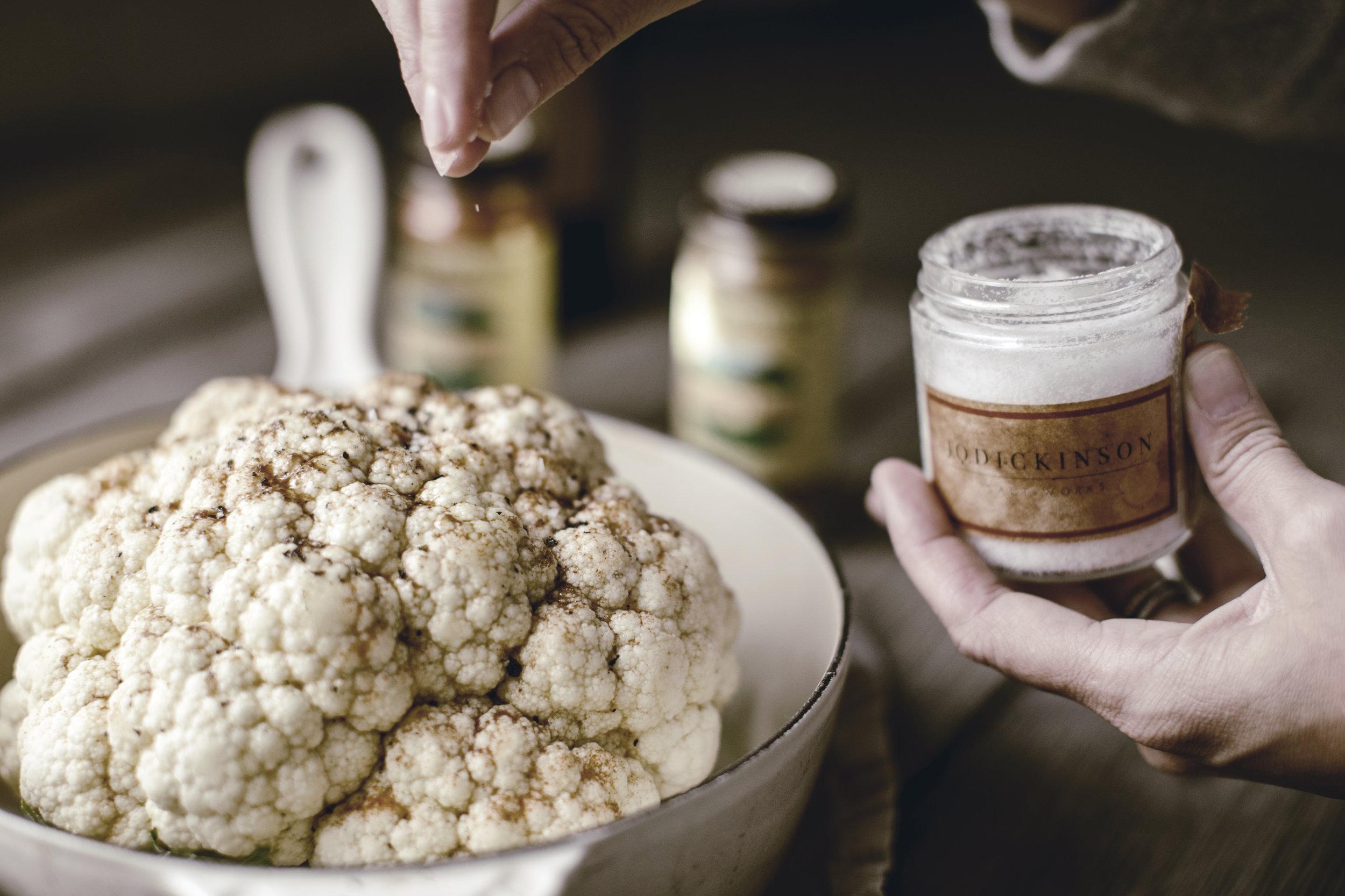 Roasted Cauliflower and Kosher Salt