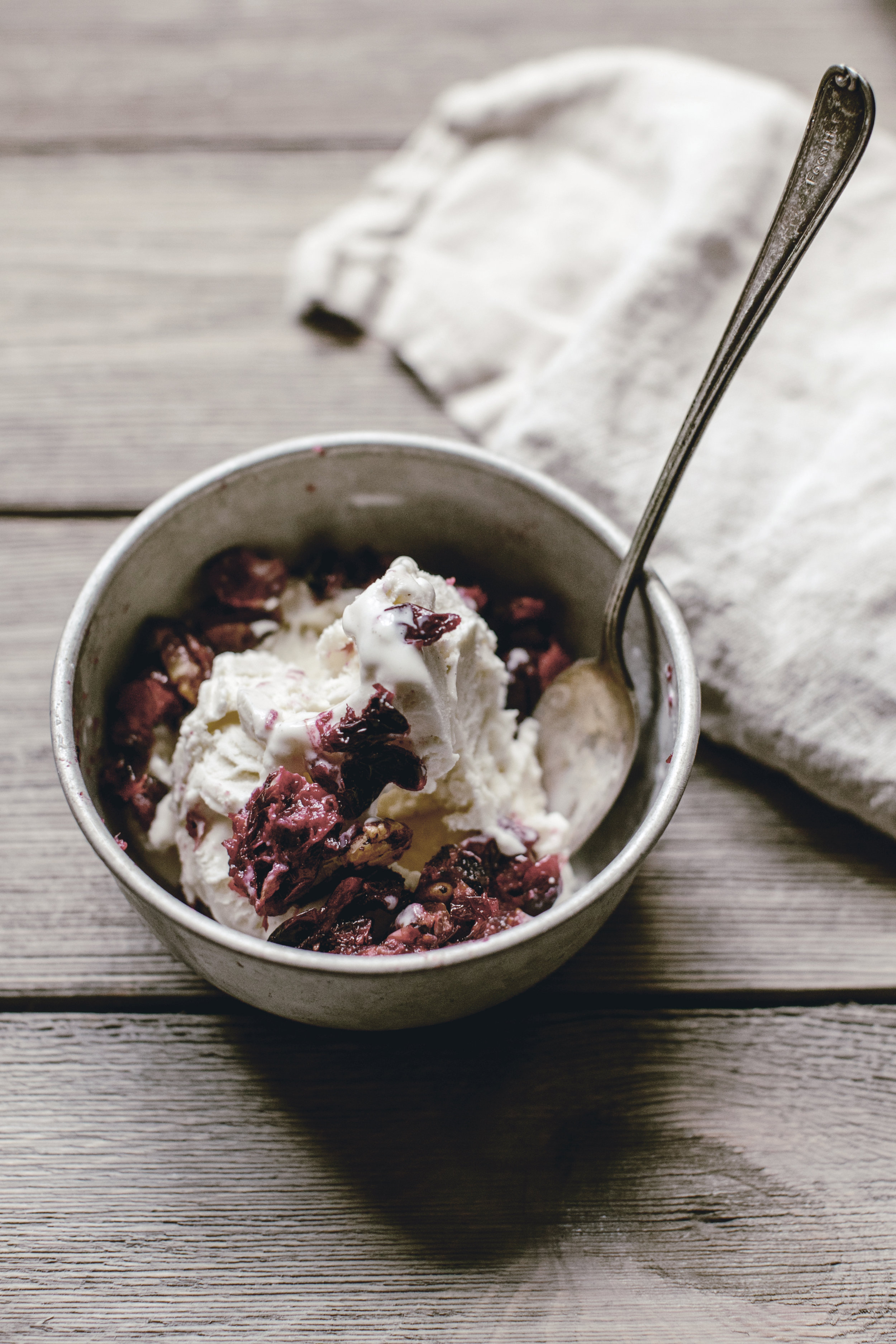 Roasted Cranberries and ice cream