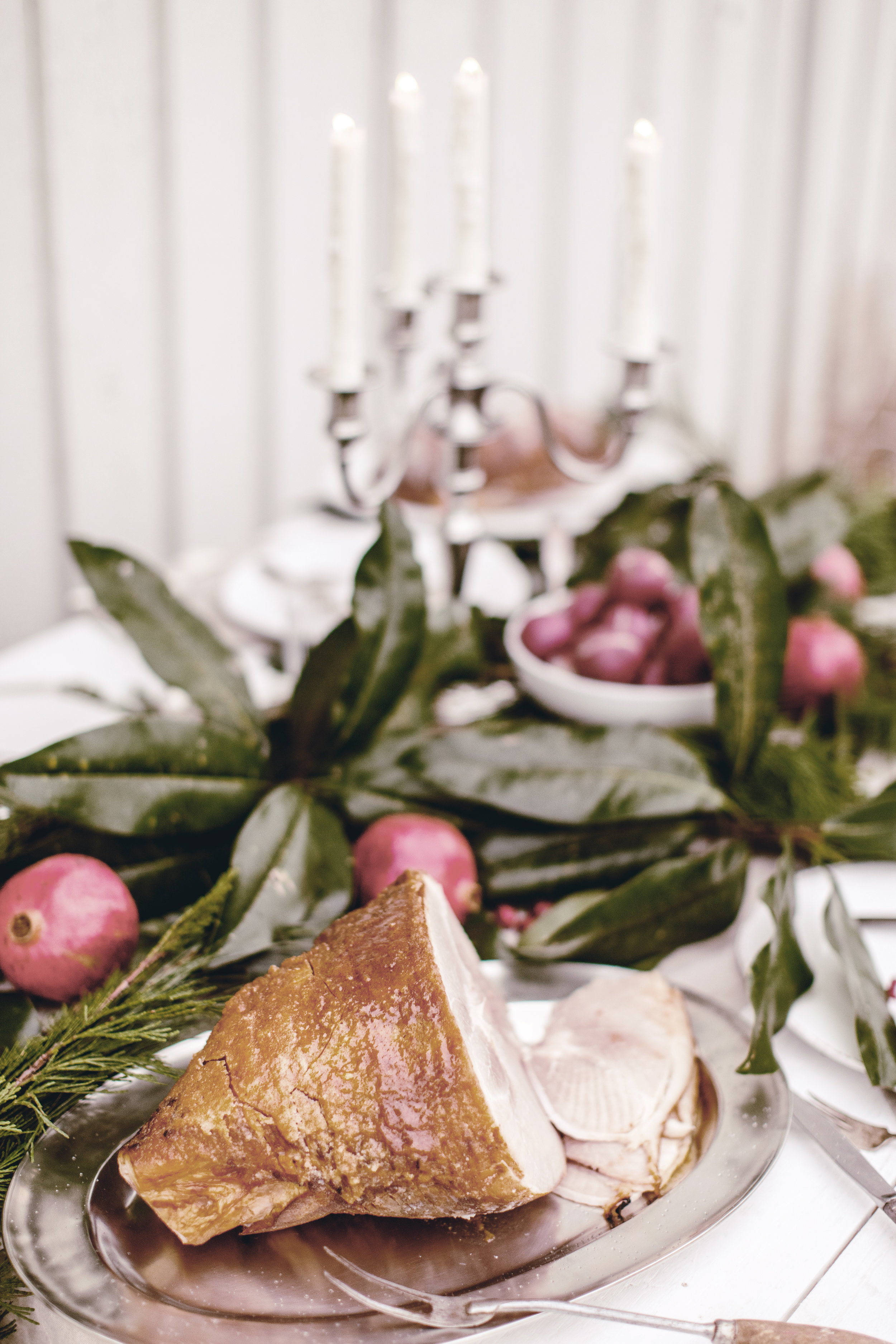 HoneyBaked Ham and Match Pewter platter for beautiful holiday tablescape / heirloomed