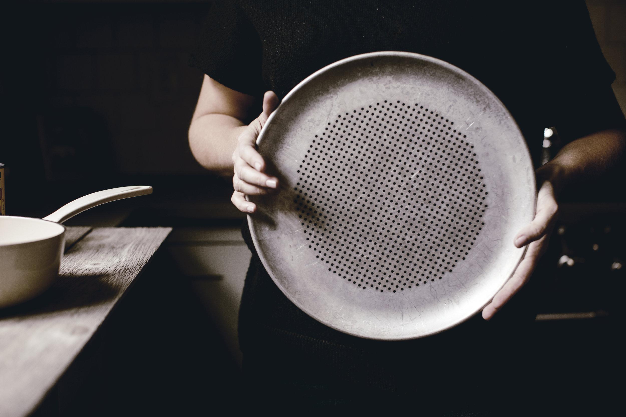 vintage goods perforated metal pizza pan / heirloomed vintage goods