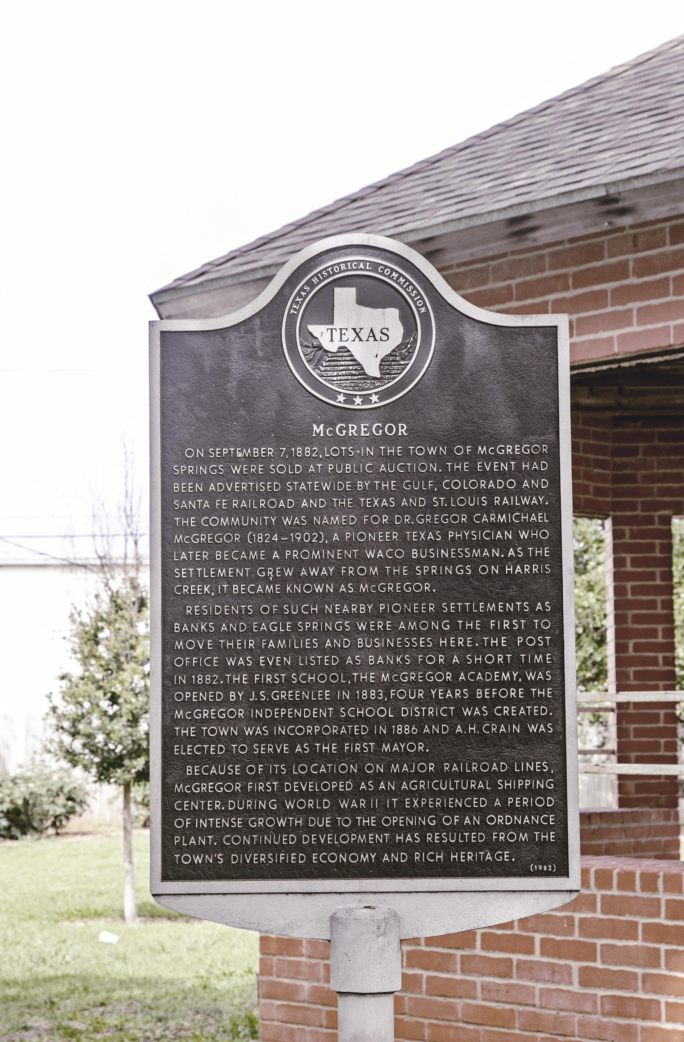 McGregor texas / park historical marker / heirloomed travel