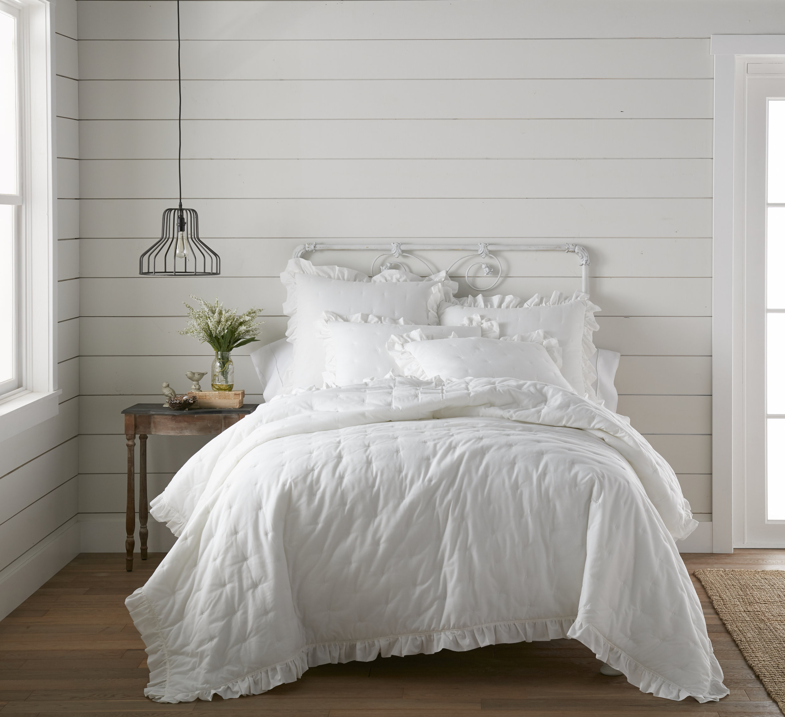 Cotton Voile White Ruffle Farmhouse Bed Quilt by heirloomed collection