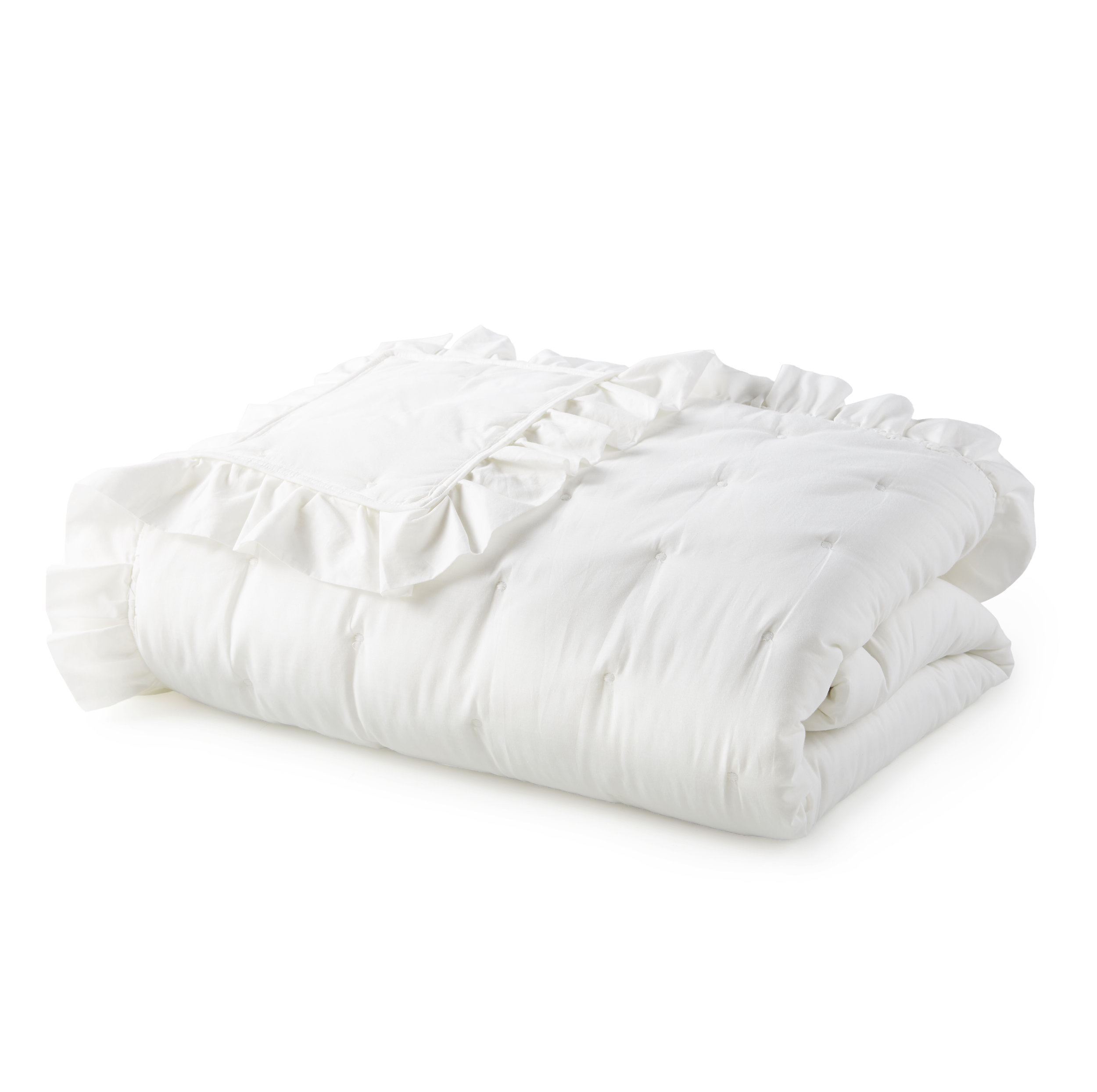 Cotton Voile White Ruffle Farmhouse Bed Quilt Sham by heirloomed collection