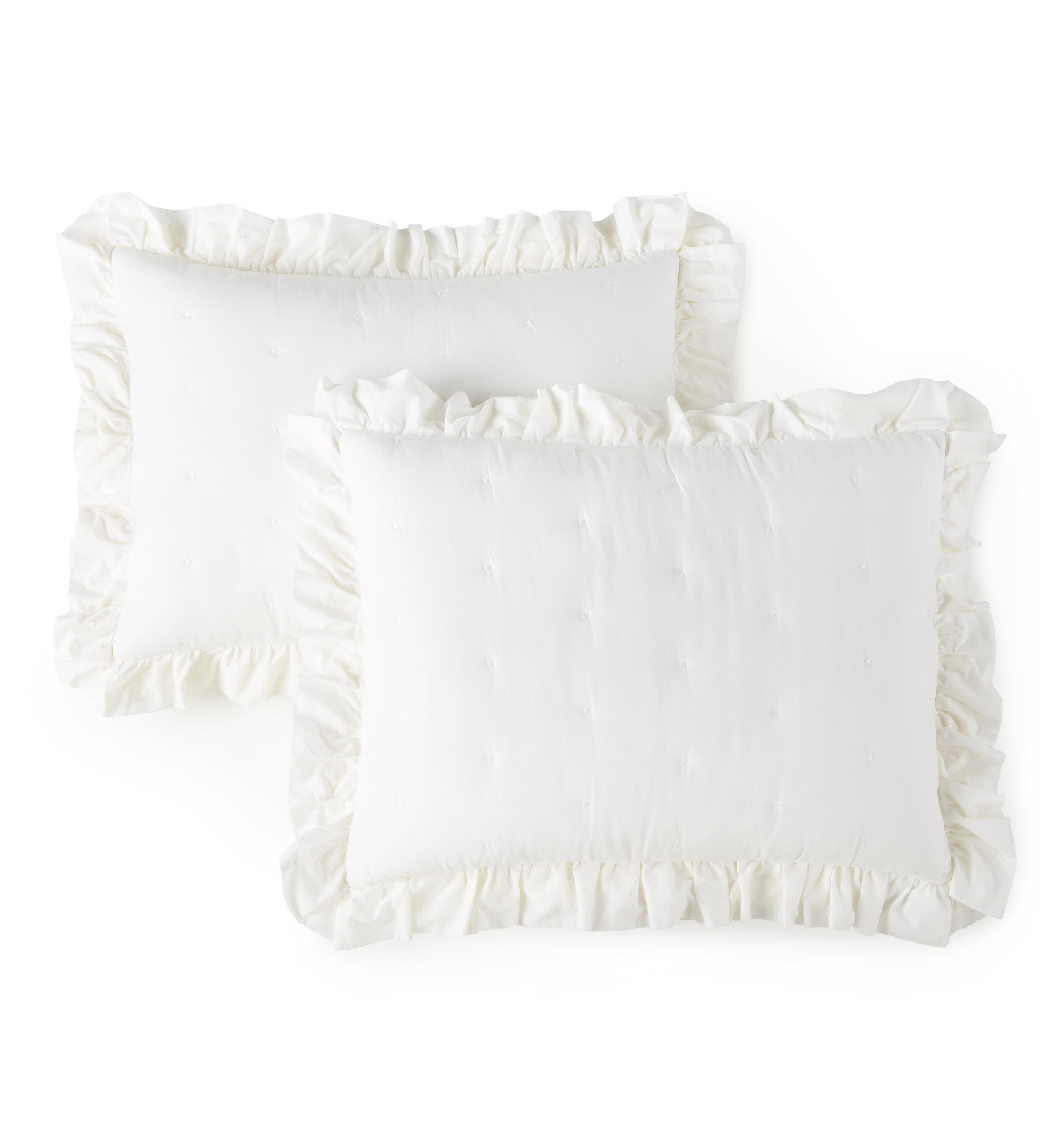 Cotton Voile White Ruffle Farmhouse Bed Quilt Shams by heirloomed collection