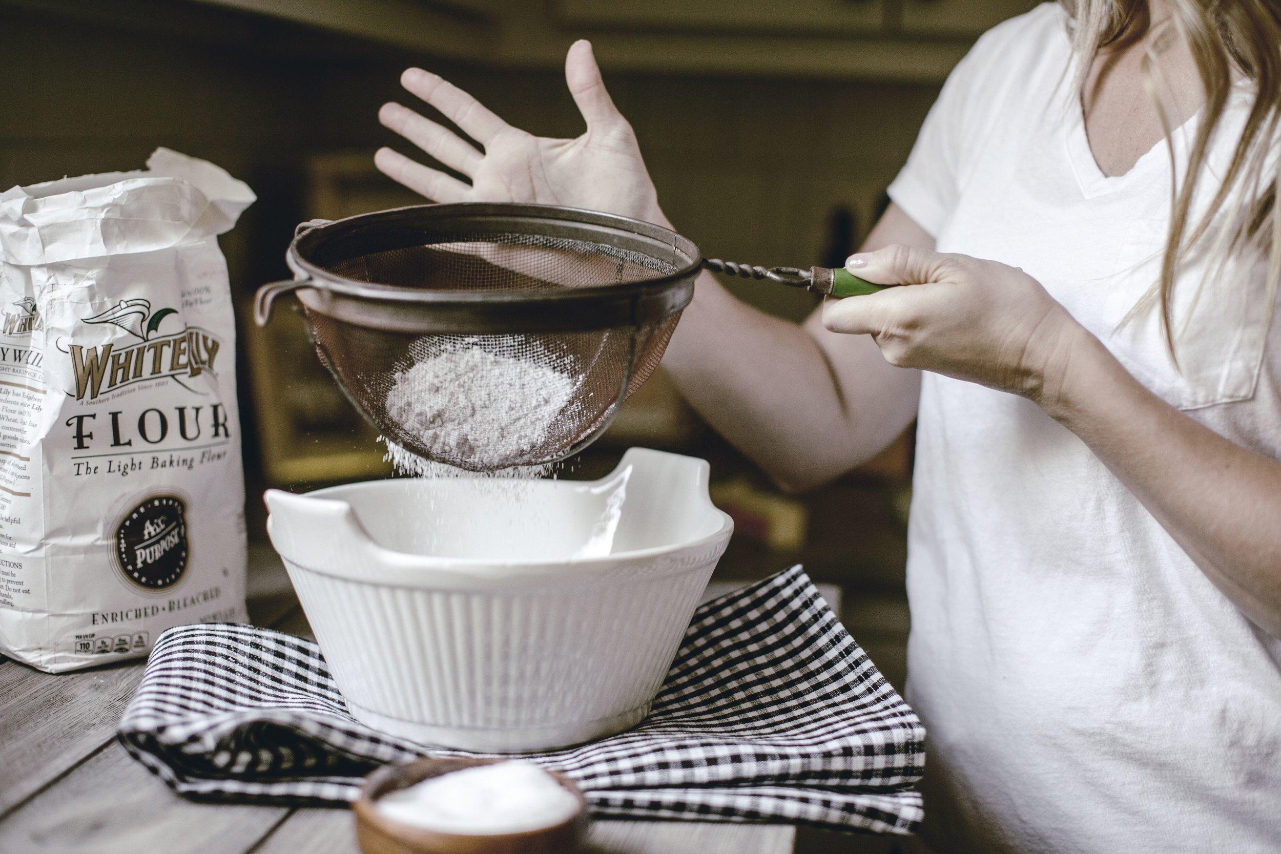 sifting flour pound cake