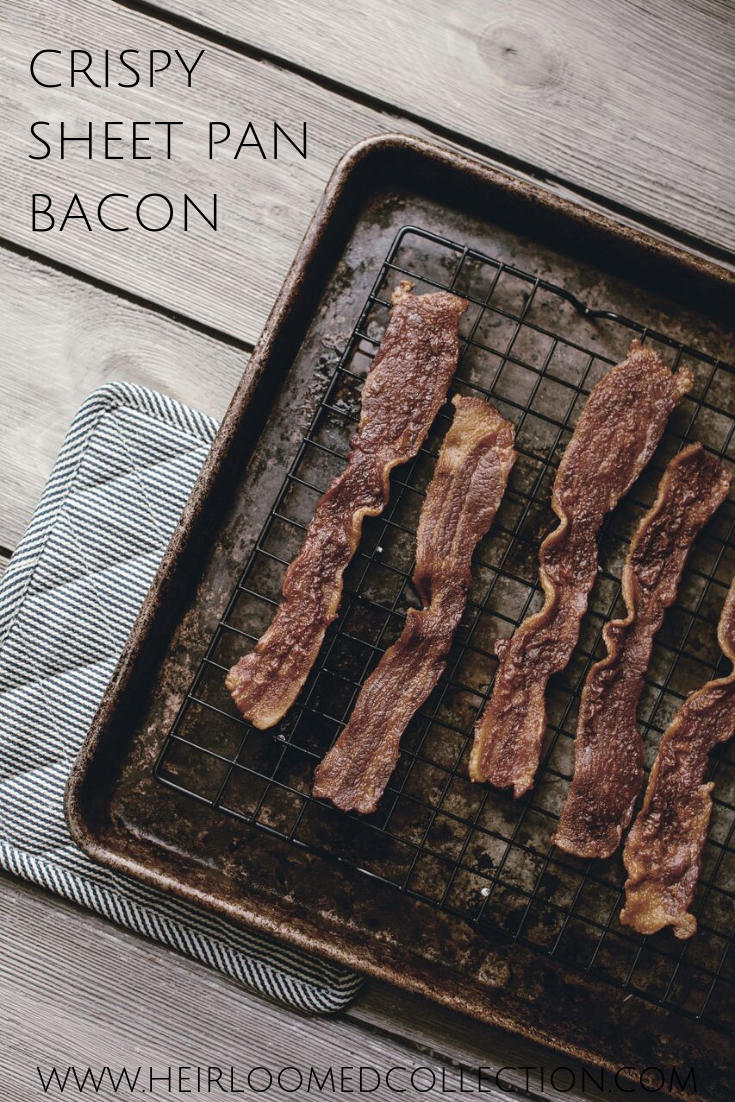 crispy bacon cooking on a sheet pan