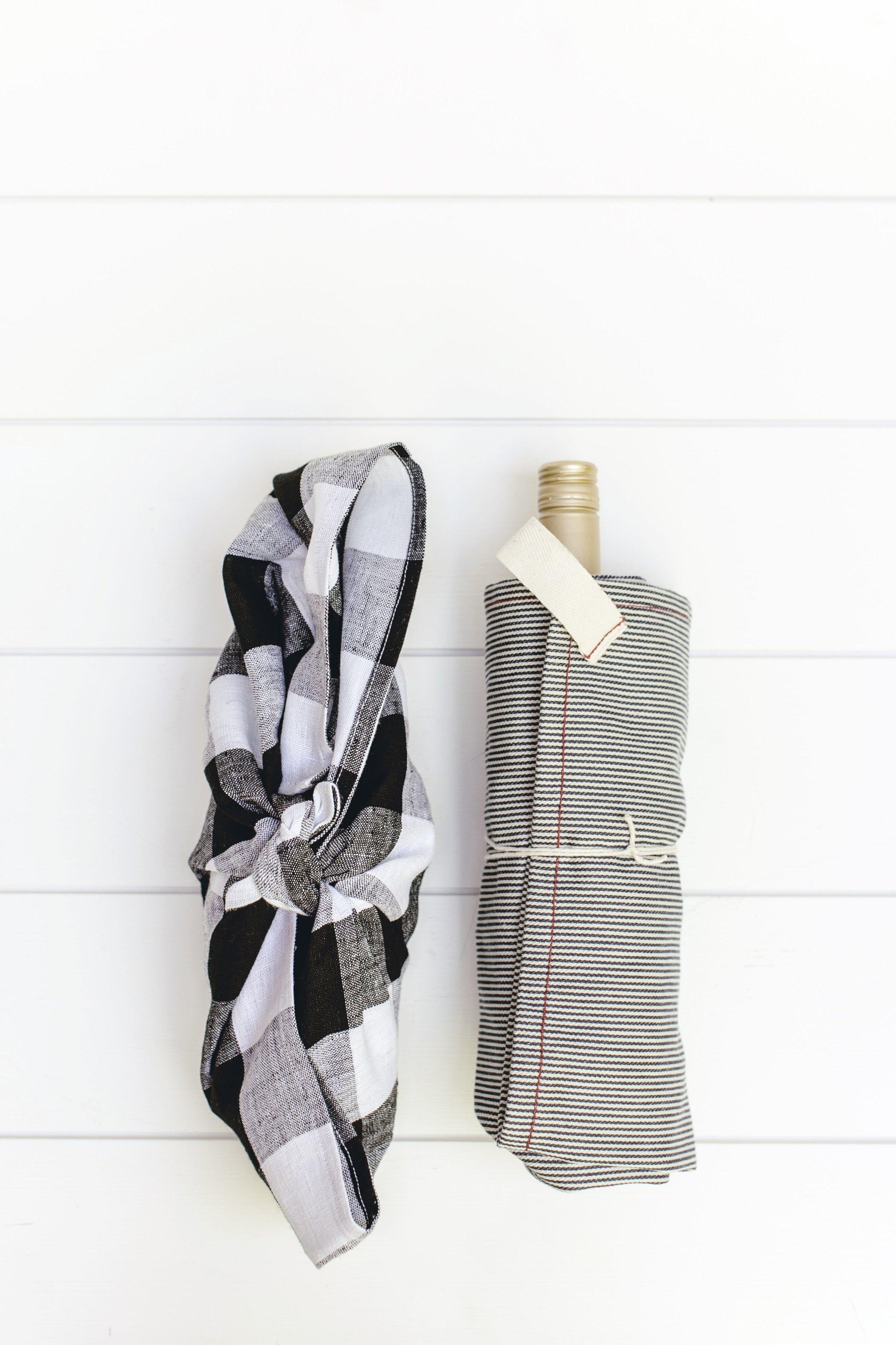 tea towel gift wrap diy by heirloomed