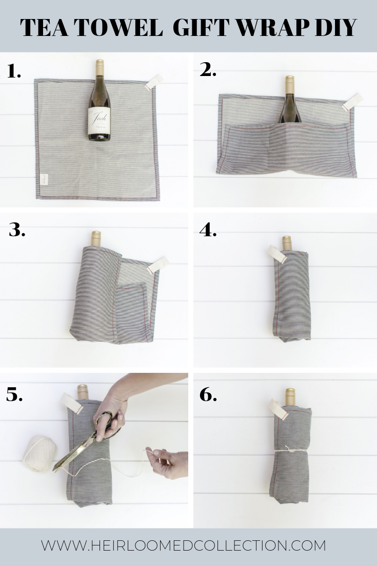 Use a tea towel as gift wrap by heirloomed
