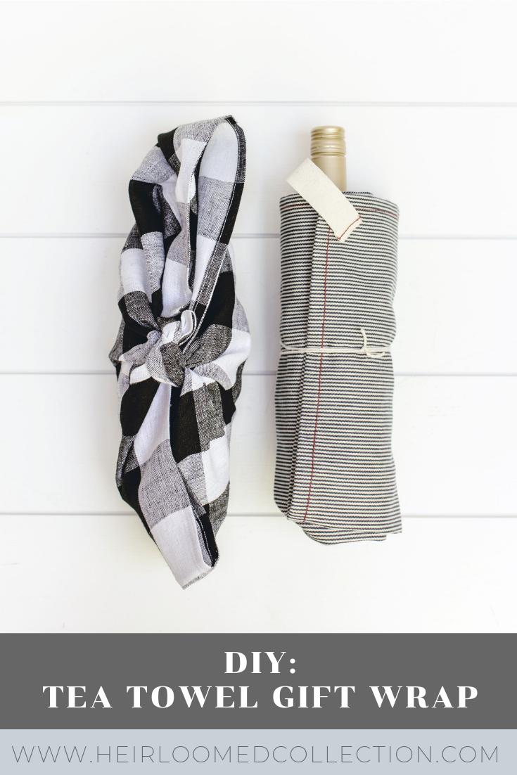 DIY tea towel gift wrap by heirloomed