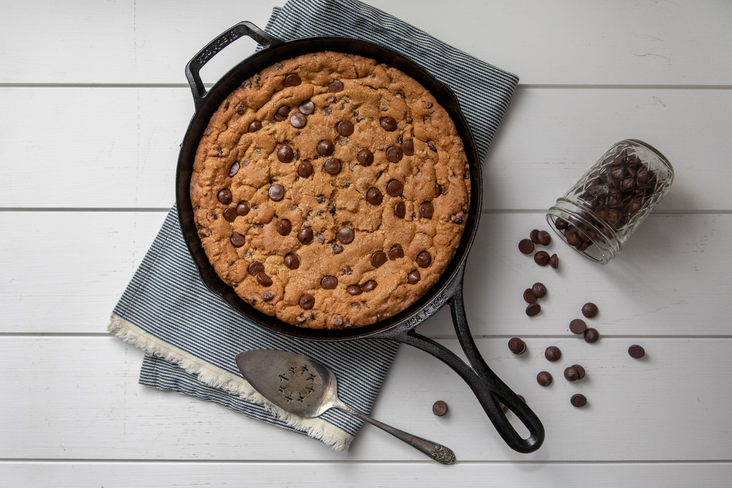 chocolate chip cookie skillet recipe by heirloomed
