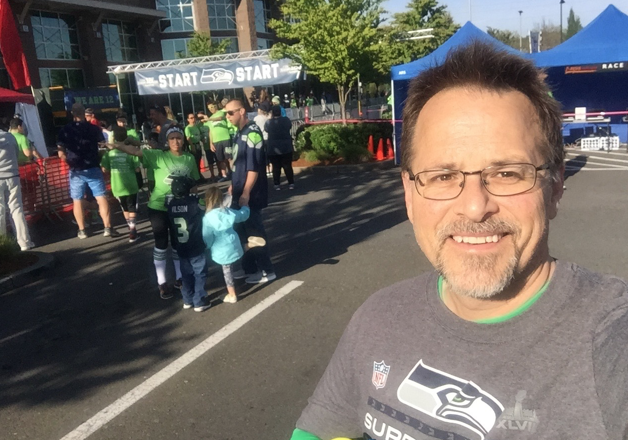 "This is from the Seattle Seahawk 12K this last April. A very fun race that had over 7,000 fans hooting ""Go Hawks"" from time to time!"