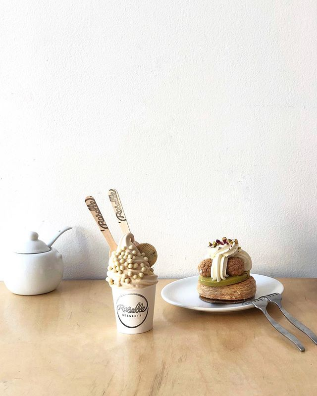 All the favourites from @roselle_to, because everything we try here is amazing. The earl grey soft serve and something new, the Pistachio St. Honore
