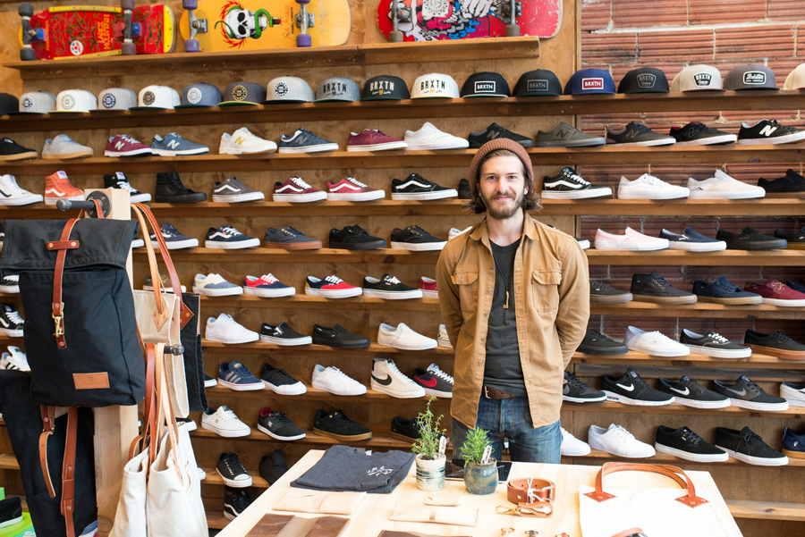 Pop-up sale at Pro Skates! Drifter Goods was selling handmade leather and canvas goods.