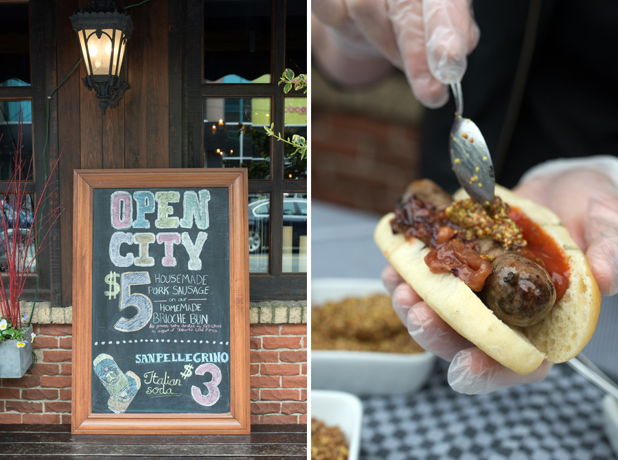 More local food :) House-made sausages on a brioche bun from La Frasca!