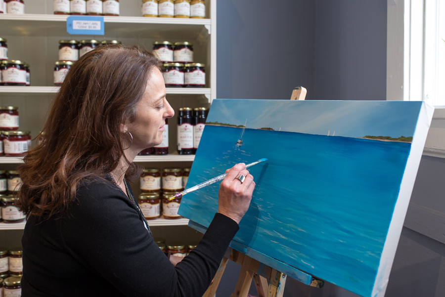 Live painting by artist Kimberley Eddy at Made in the Maritimes. Fun to see a painting in process!