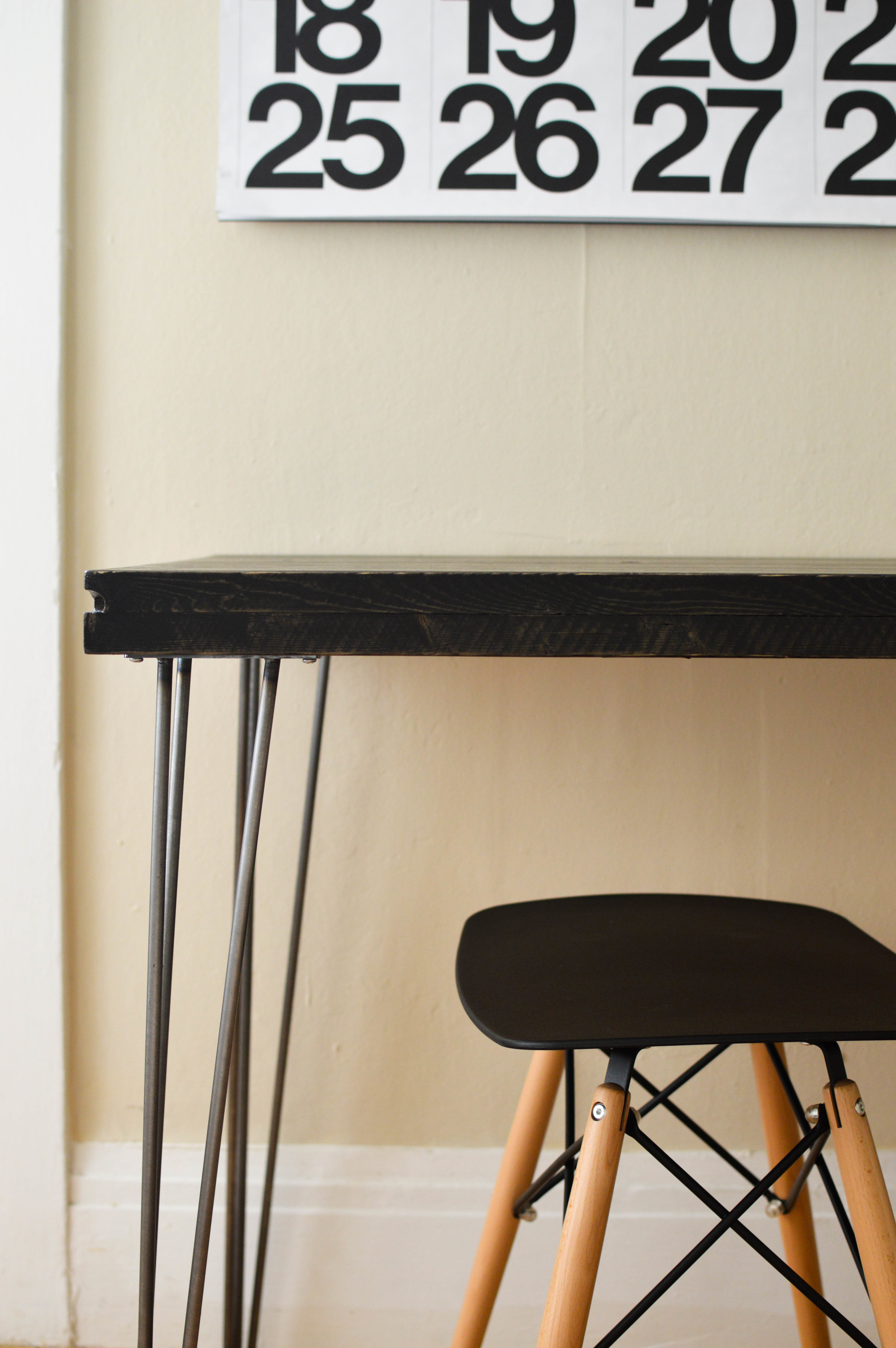 Swap your regular table legs for hairpin legs for a modern look