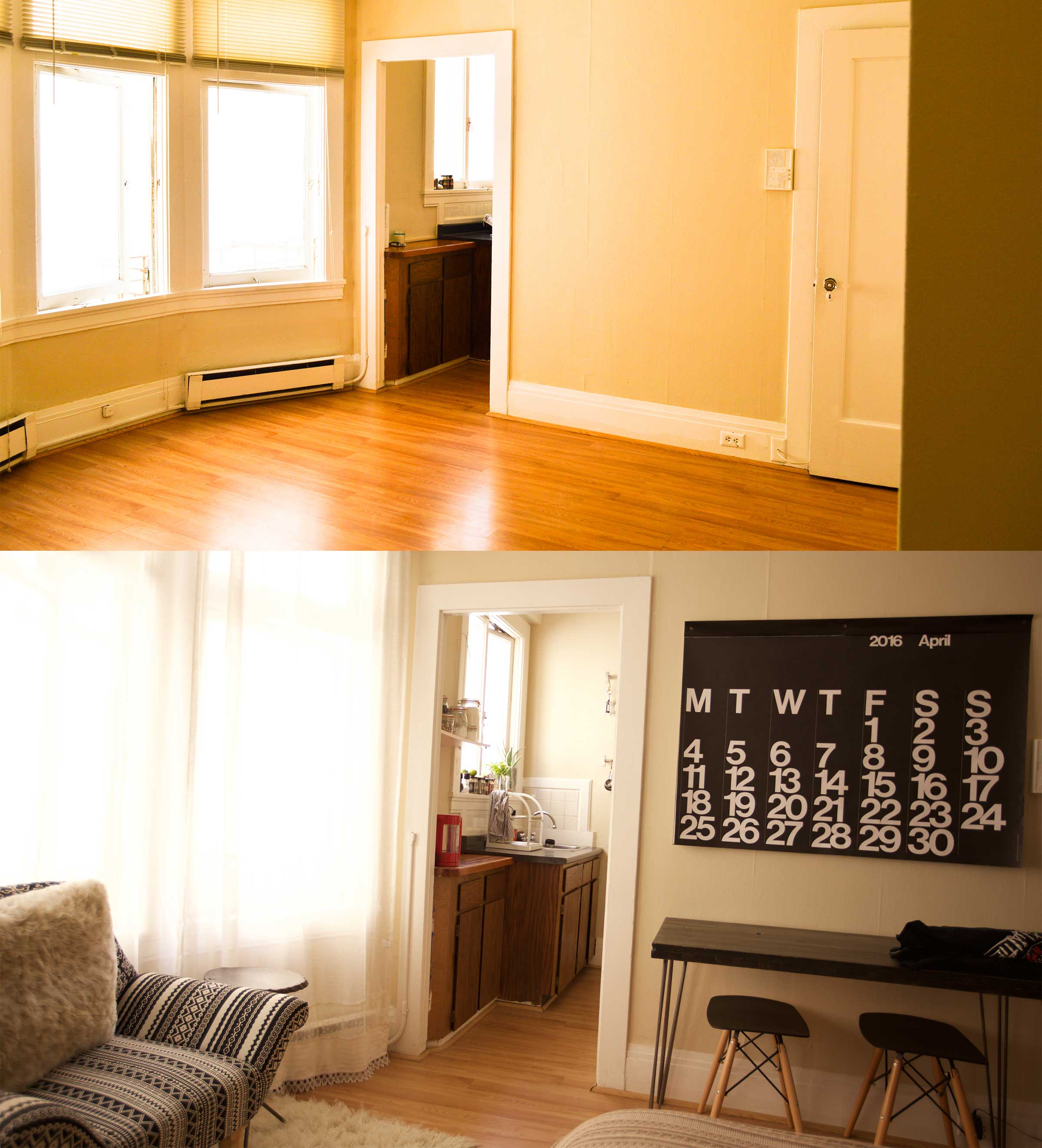 Small SF studio before and after